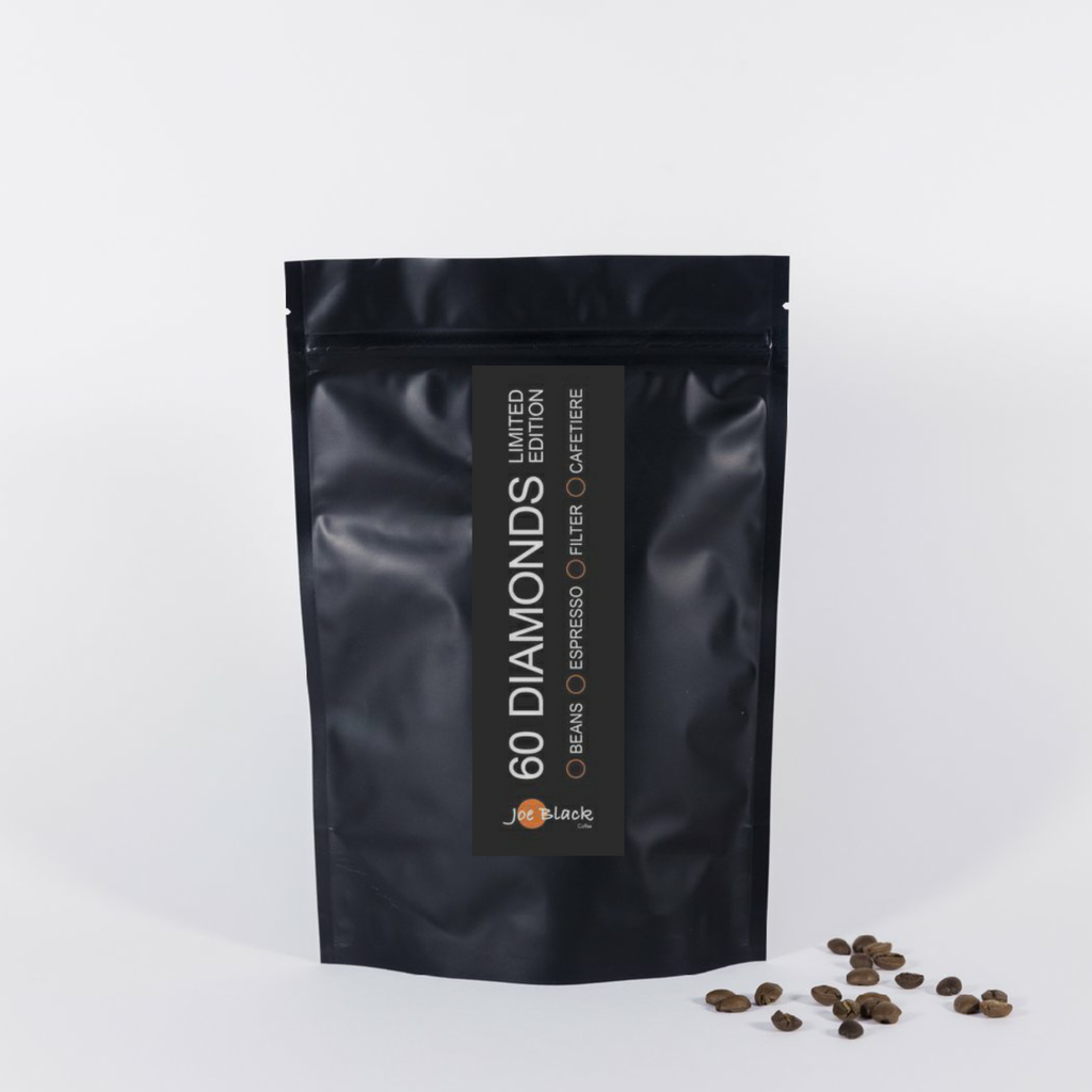 60 Diamonds: A powerful, chocolate bodied coffee with a rich citrus flavour and earthy undertones