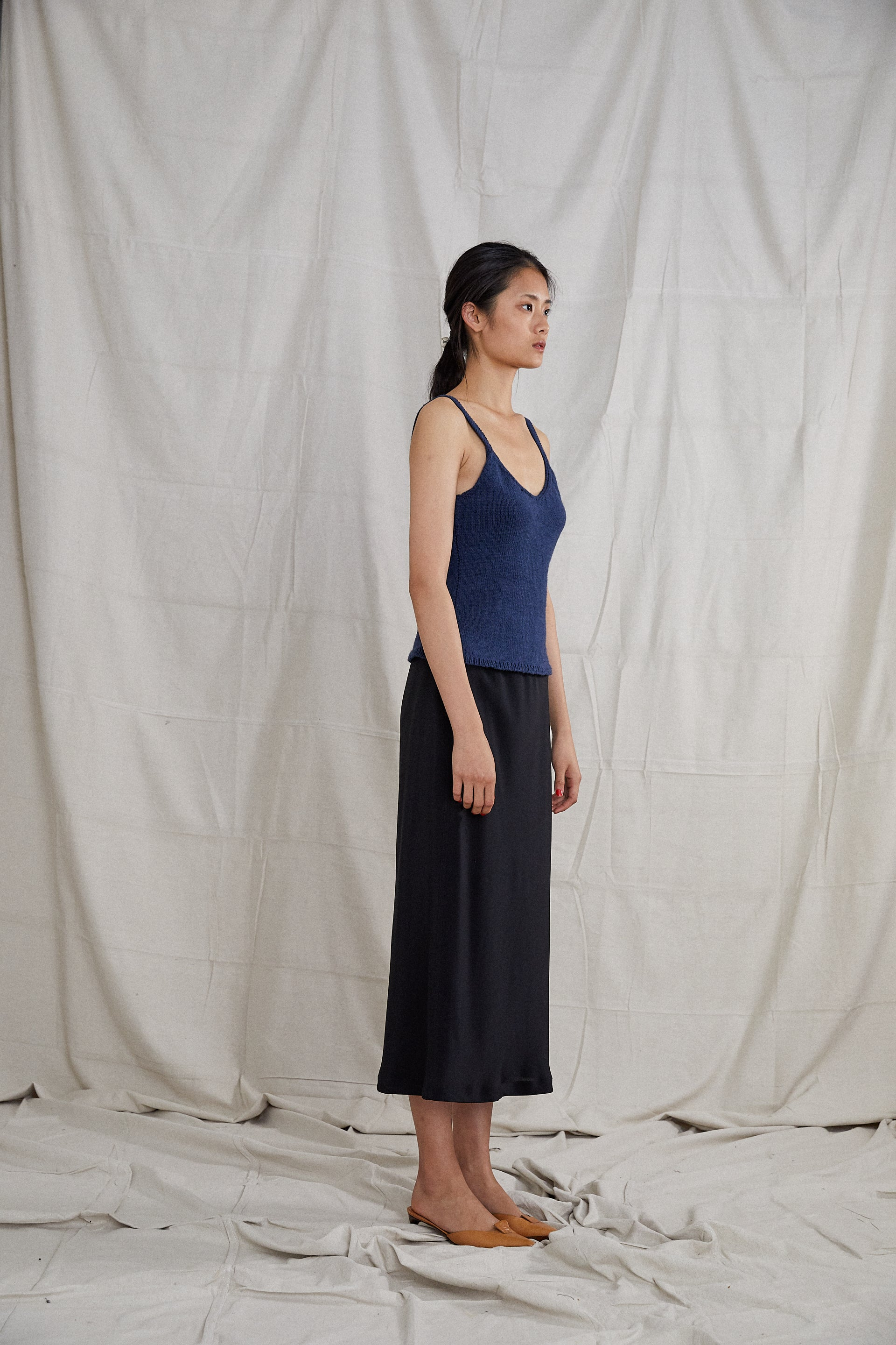 Roshlo Singlet - Indigo Hand Knitted Cotton Silk