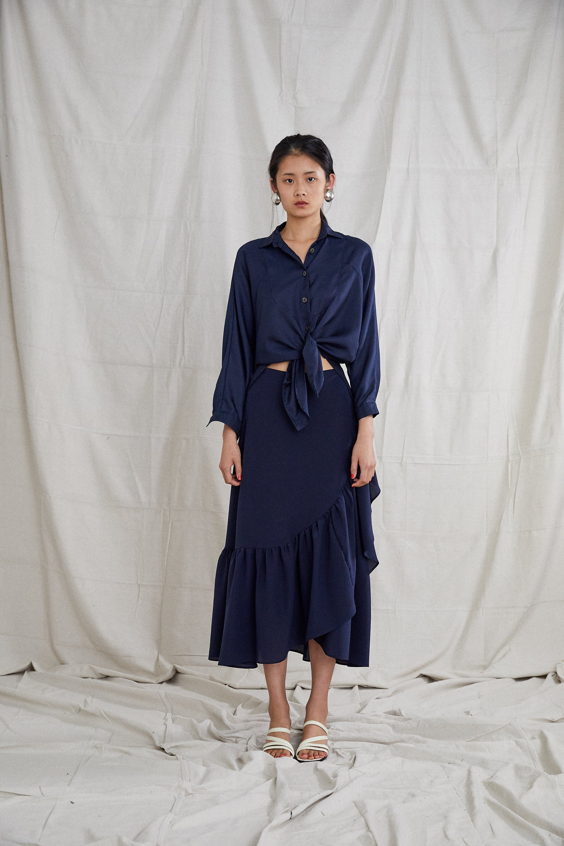 Etka Skirt - Indigo Silk