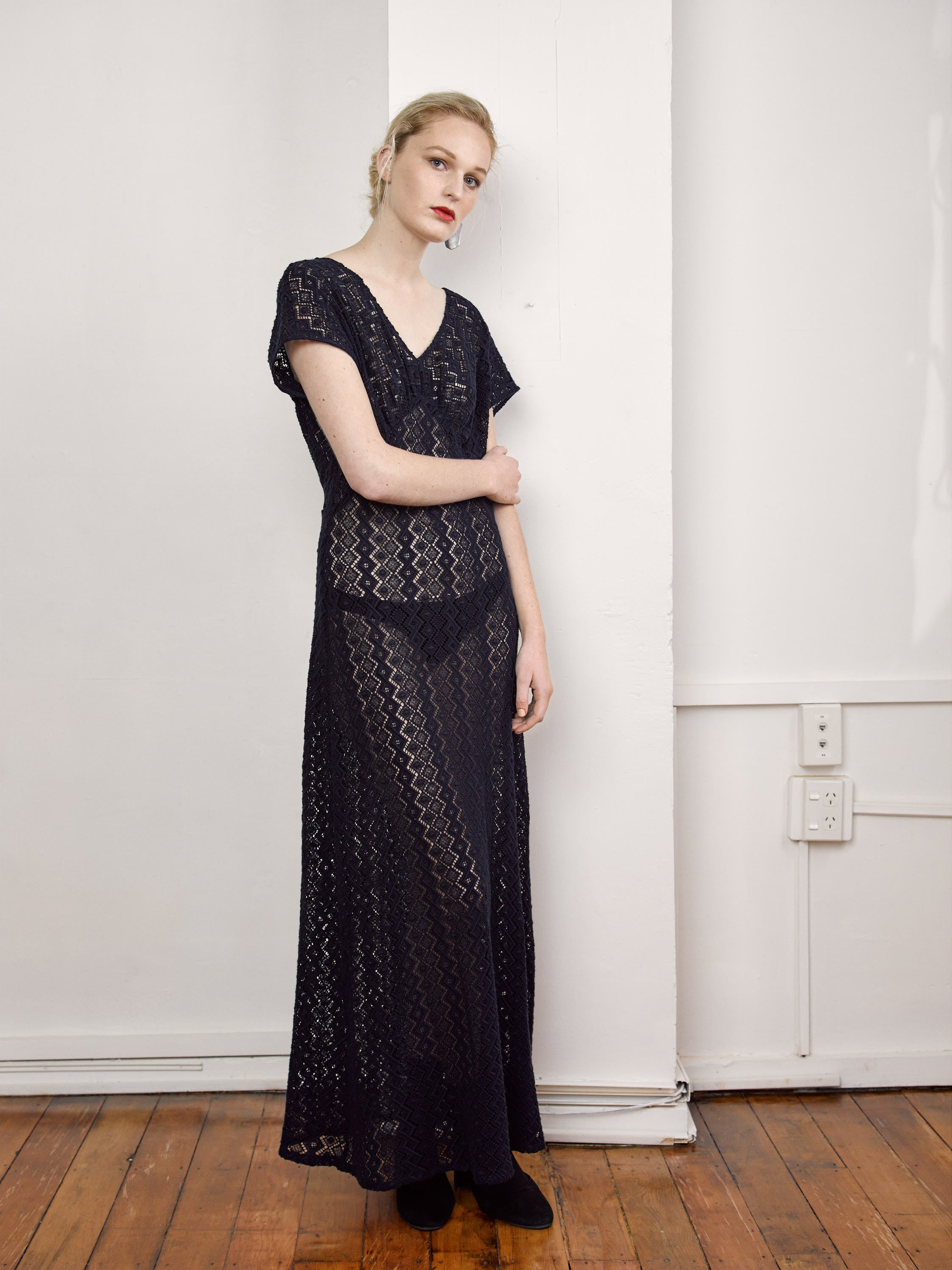 Requiem Dress - Navy Cotton Lace