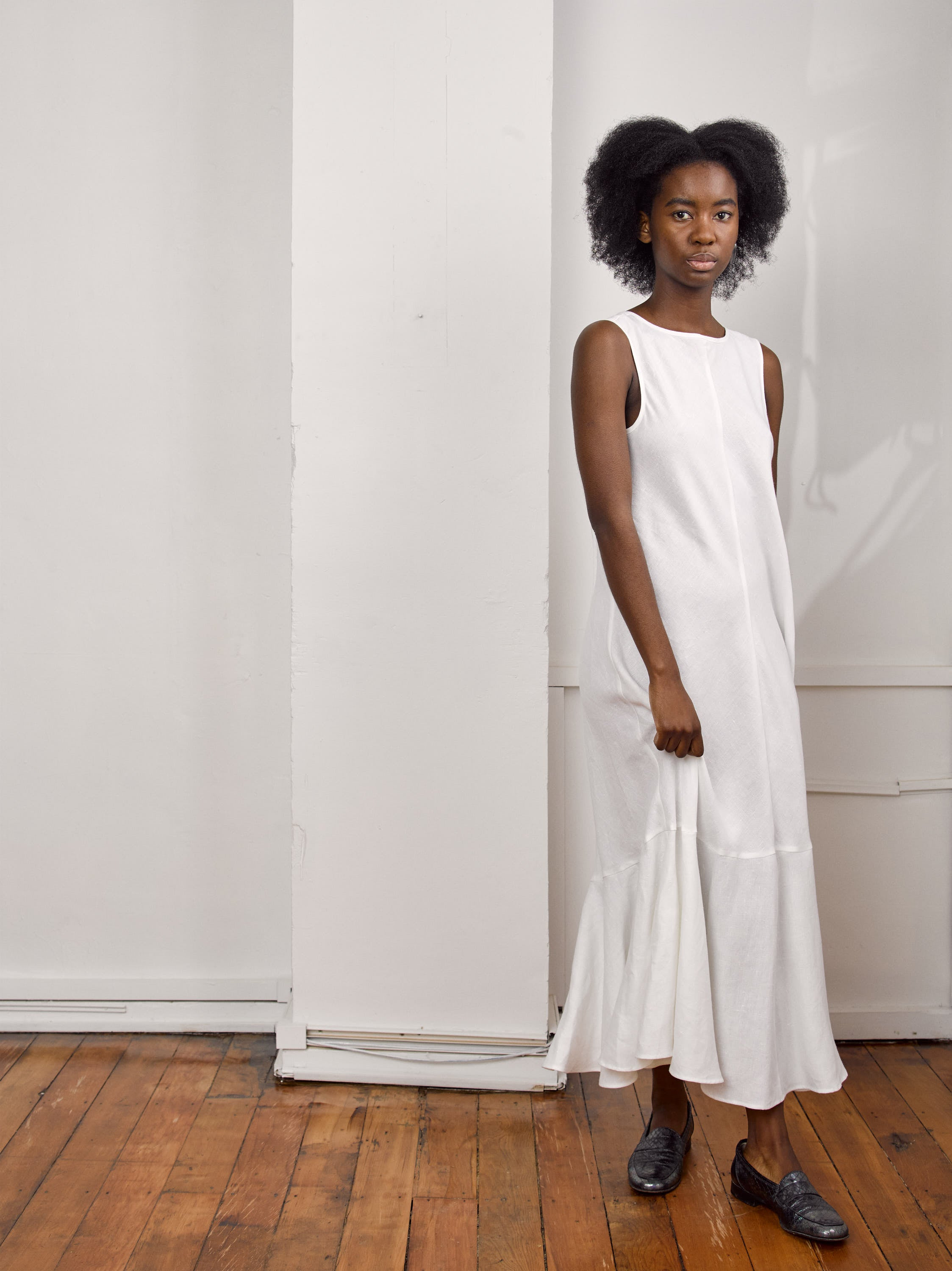 Moniya Dress - White Organic Linen