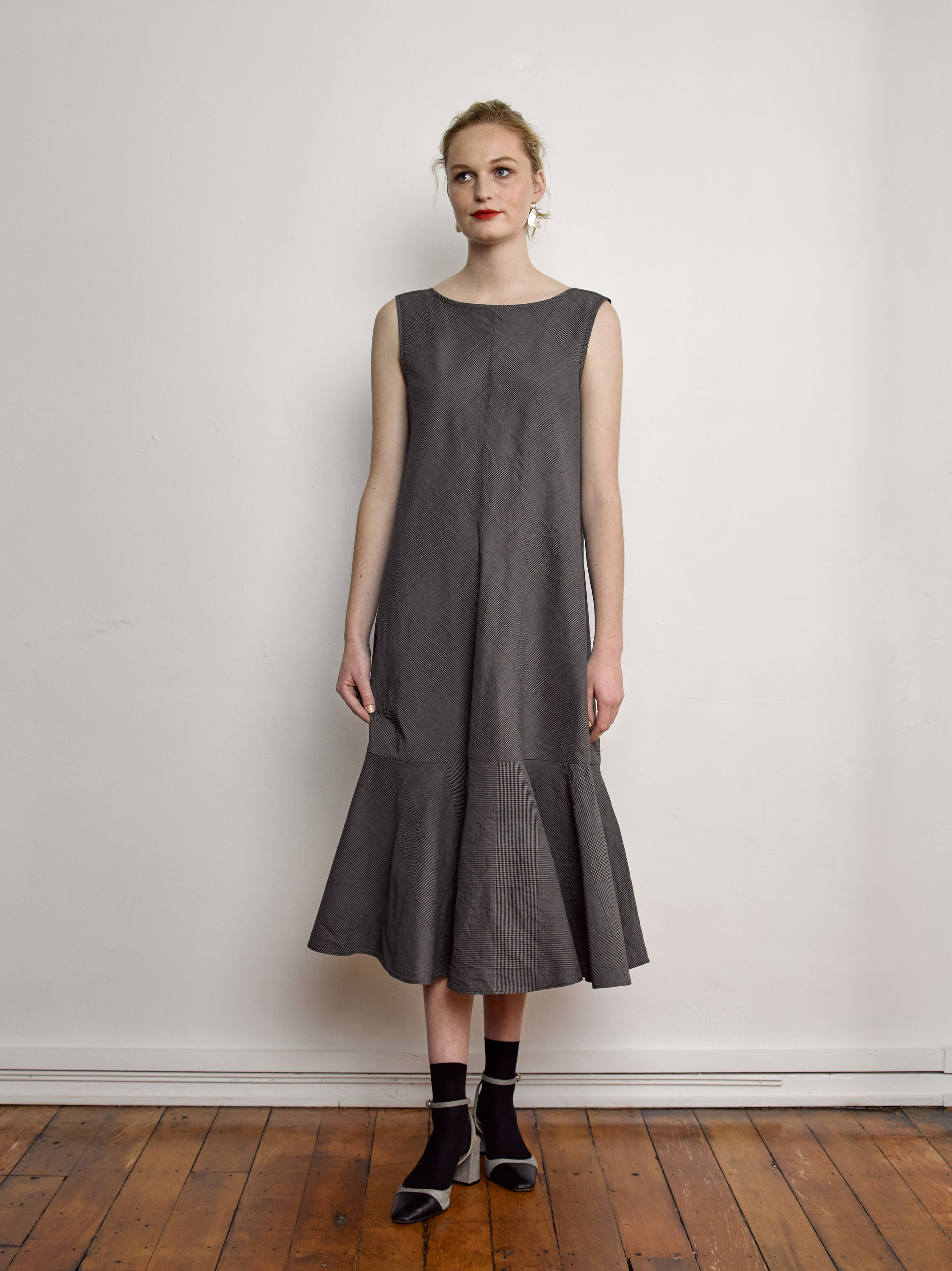 Moniya Dress - Glen Plaid Cotton Linen