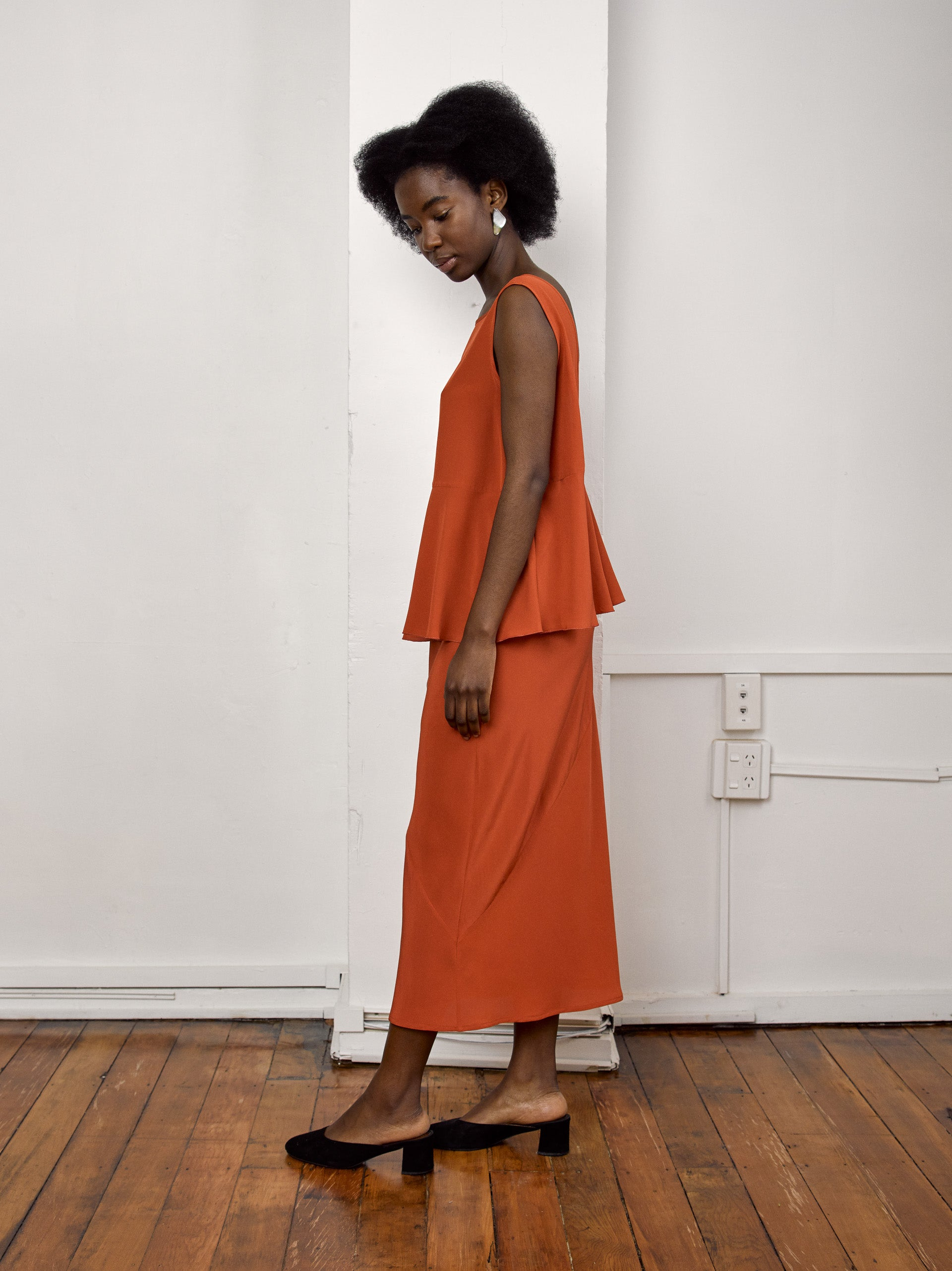 Deni Skirt - Terracotta Silk