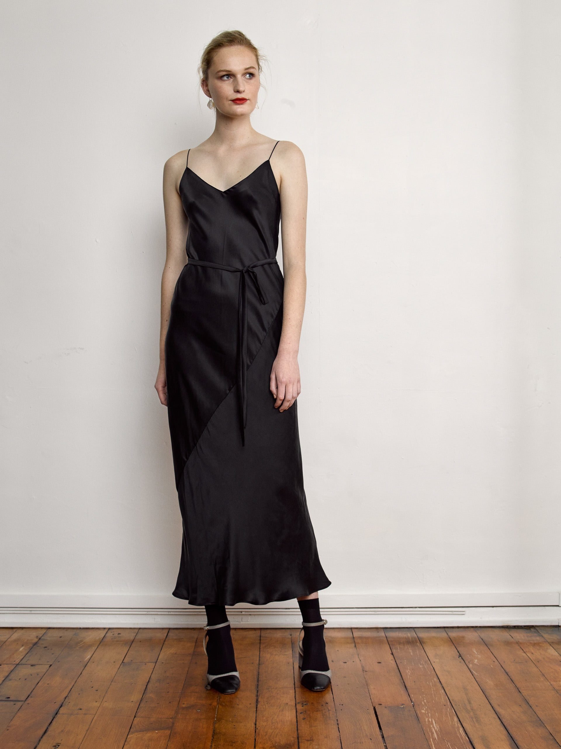 Deni Dress - Black Sandwashed Silk