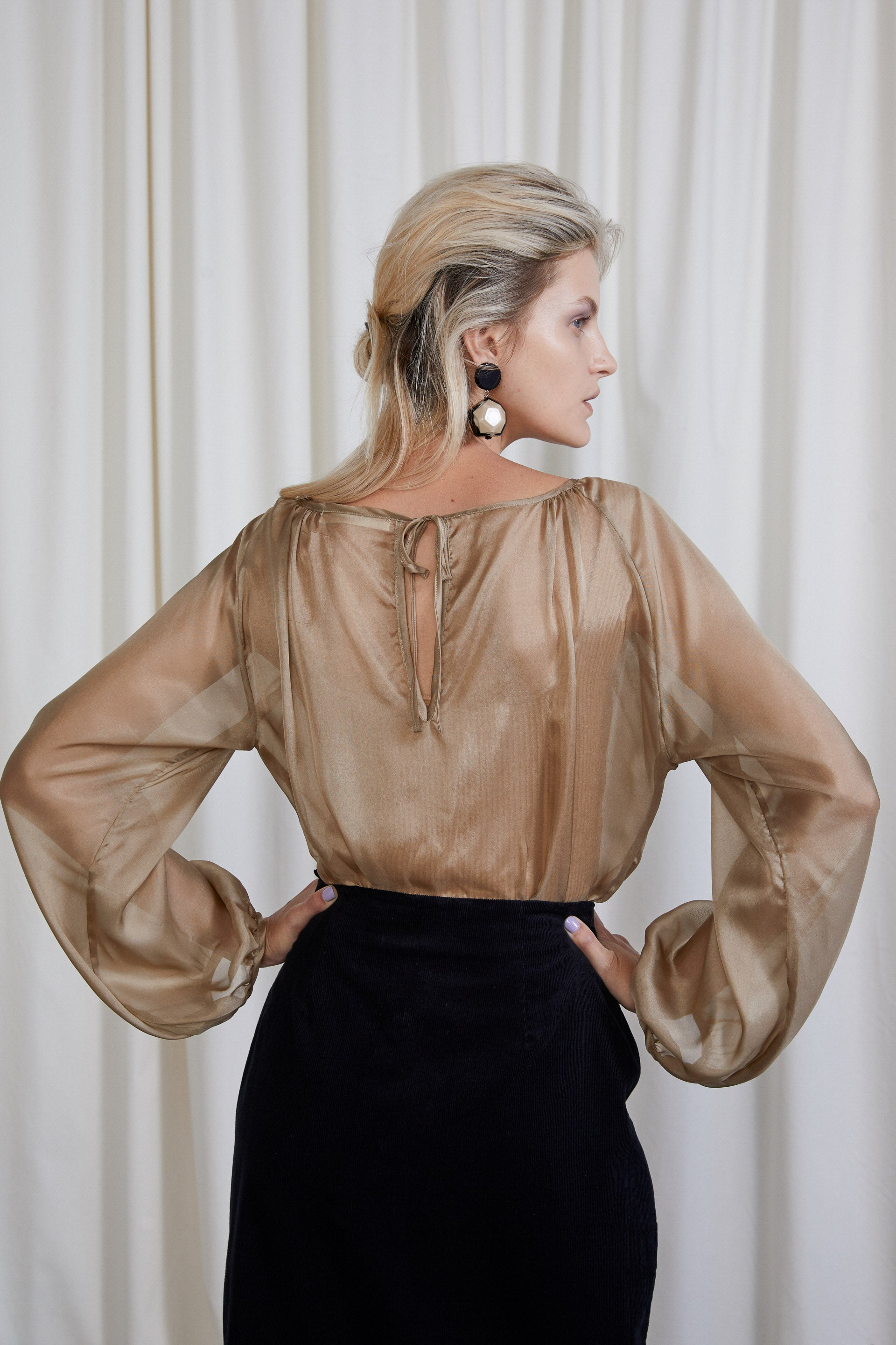 Isadora Blouse - Tea Silk Voile