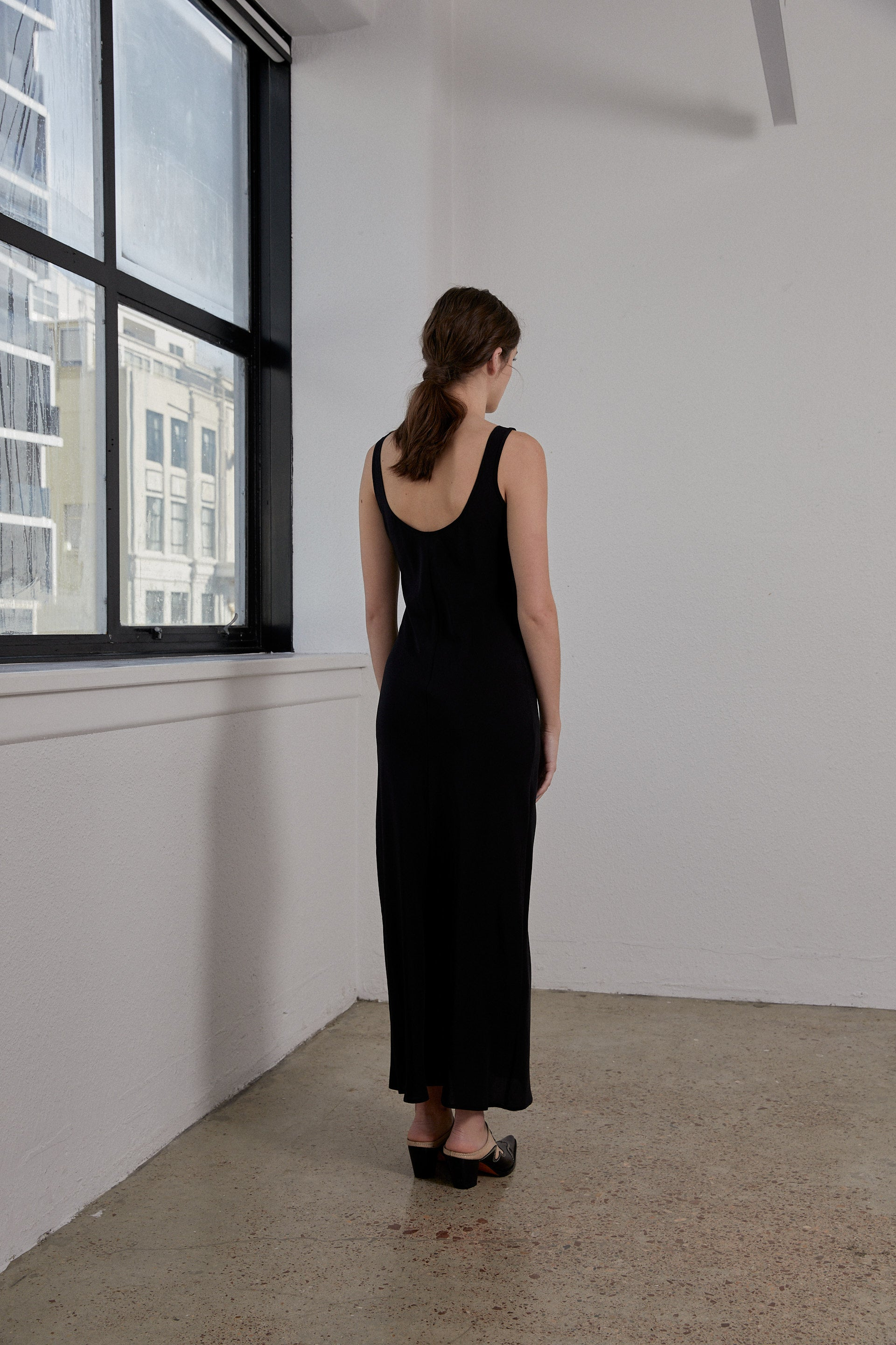 Doma Dress - Onyx Silk Crepe