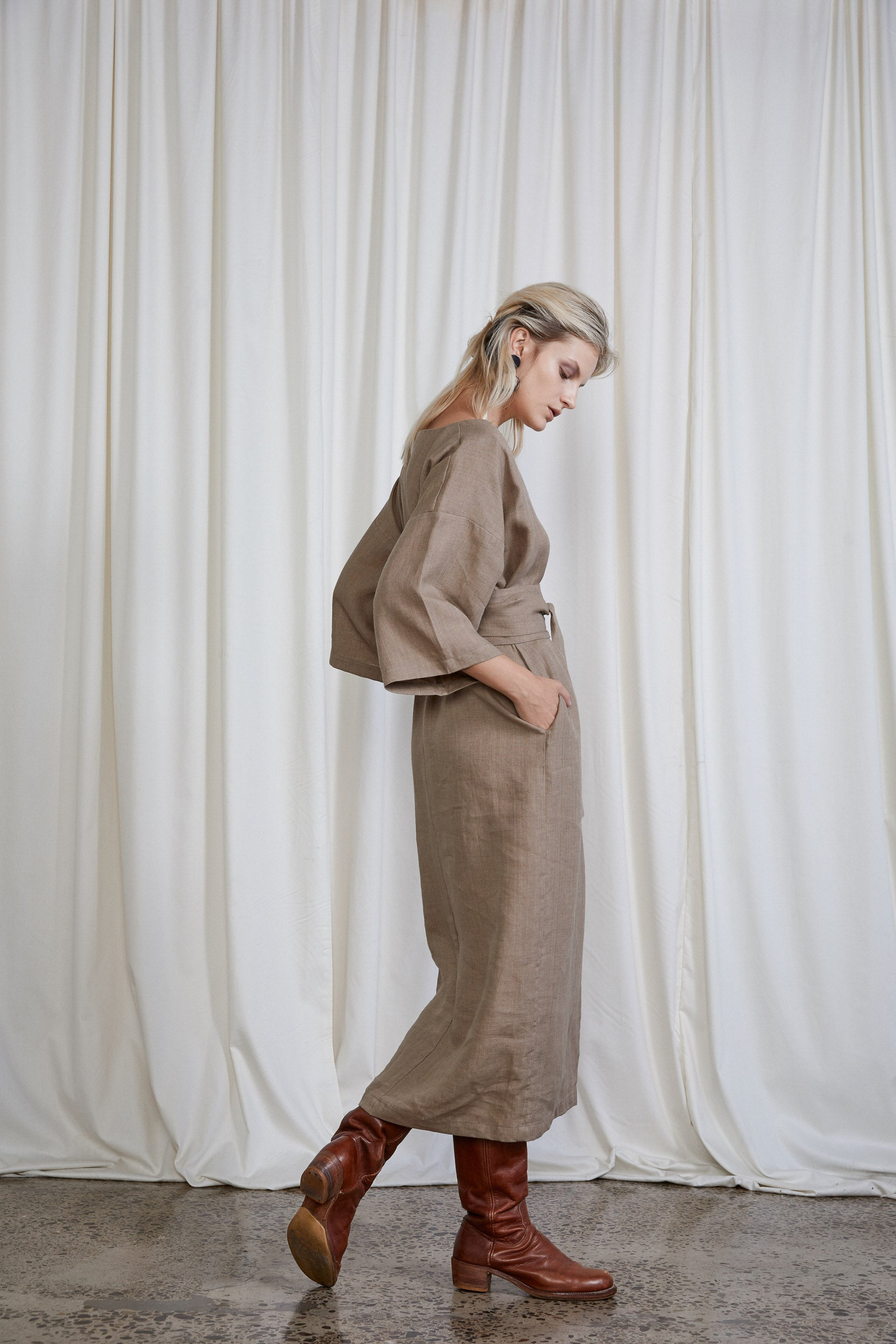 Gloria Dress - Biscuit Melange Linen