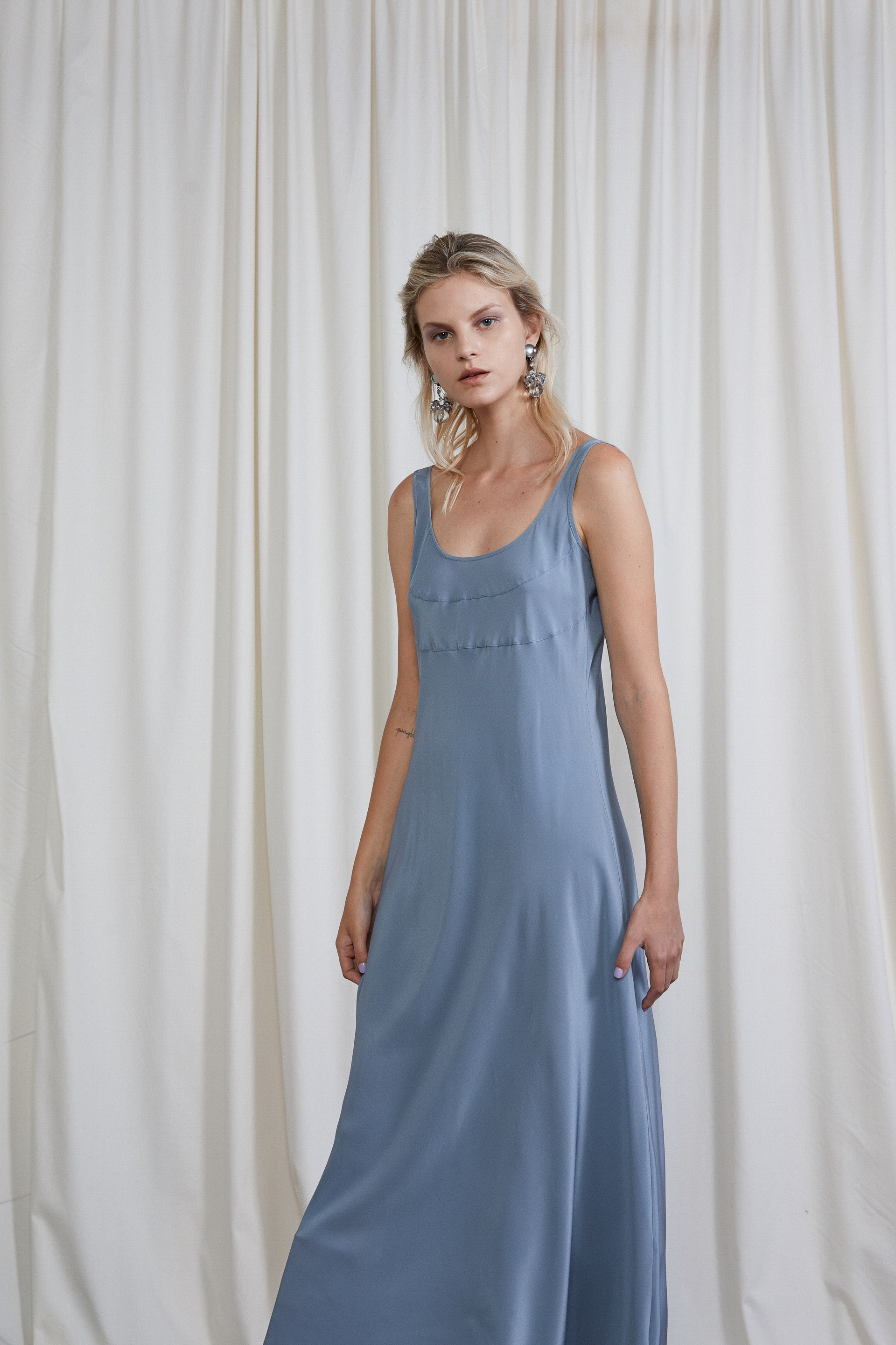 4th Wave Dress - Steel Silk Crepe