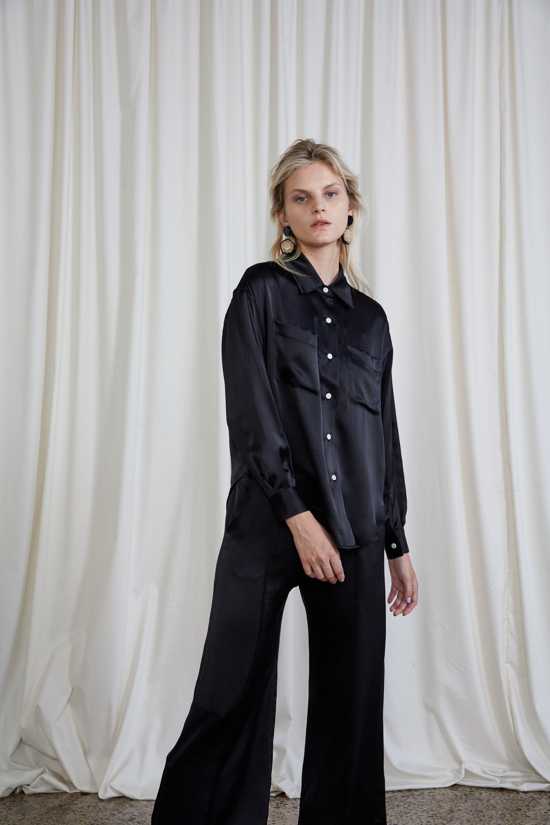 Sherman Shirt - Onyx Silk Satin