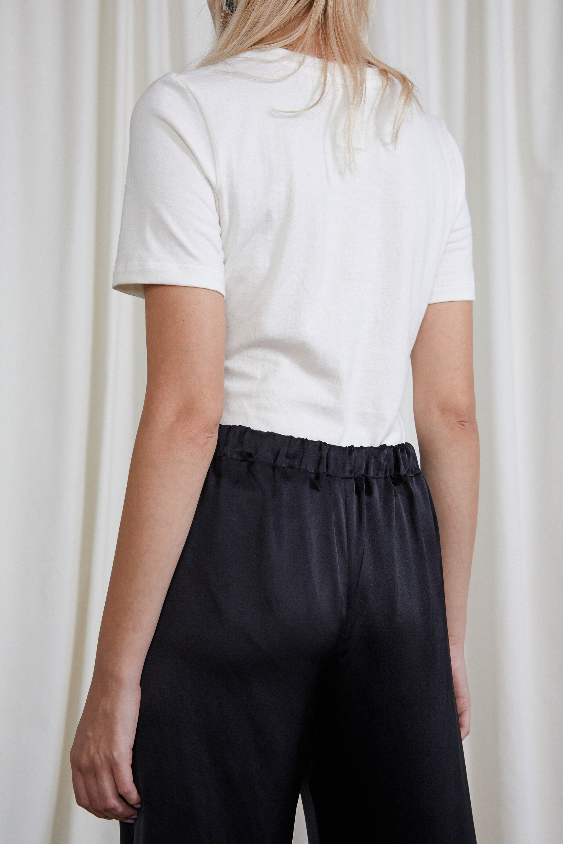 Eleanor Pant - Onyx Silk Satin