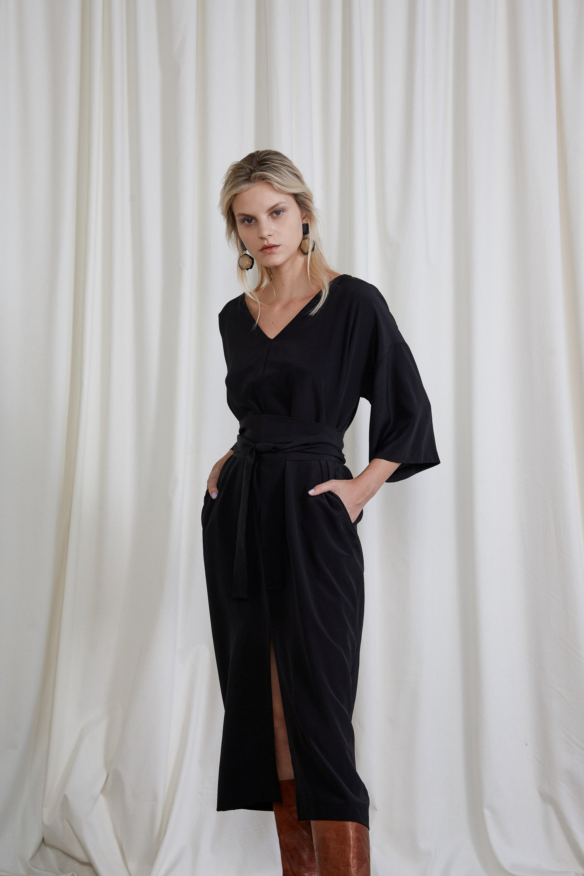Gloria Dress - Onyx Silk Crepe