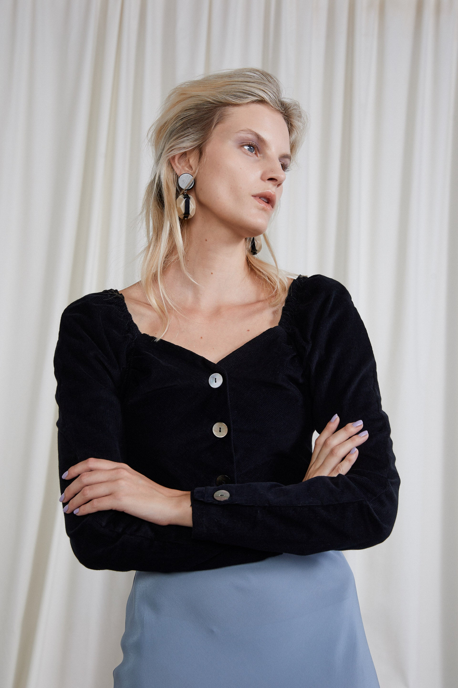 Virginia Top - Onyx Organic Cotton Corduroy