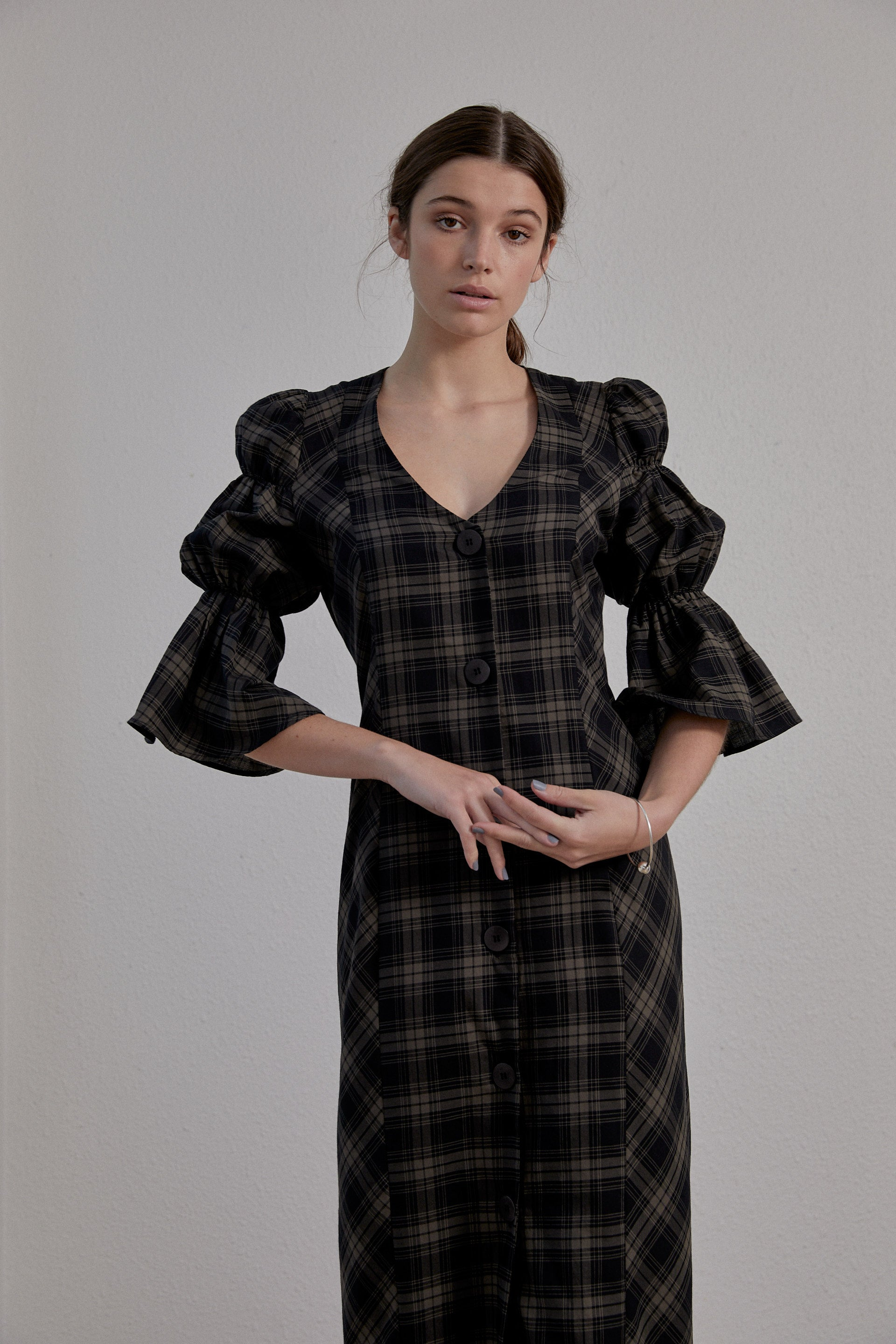 Kahlo Dress - Olive Plaid Cotton