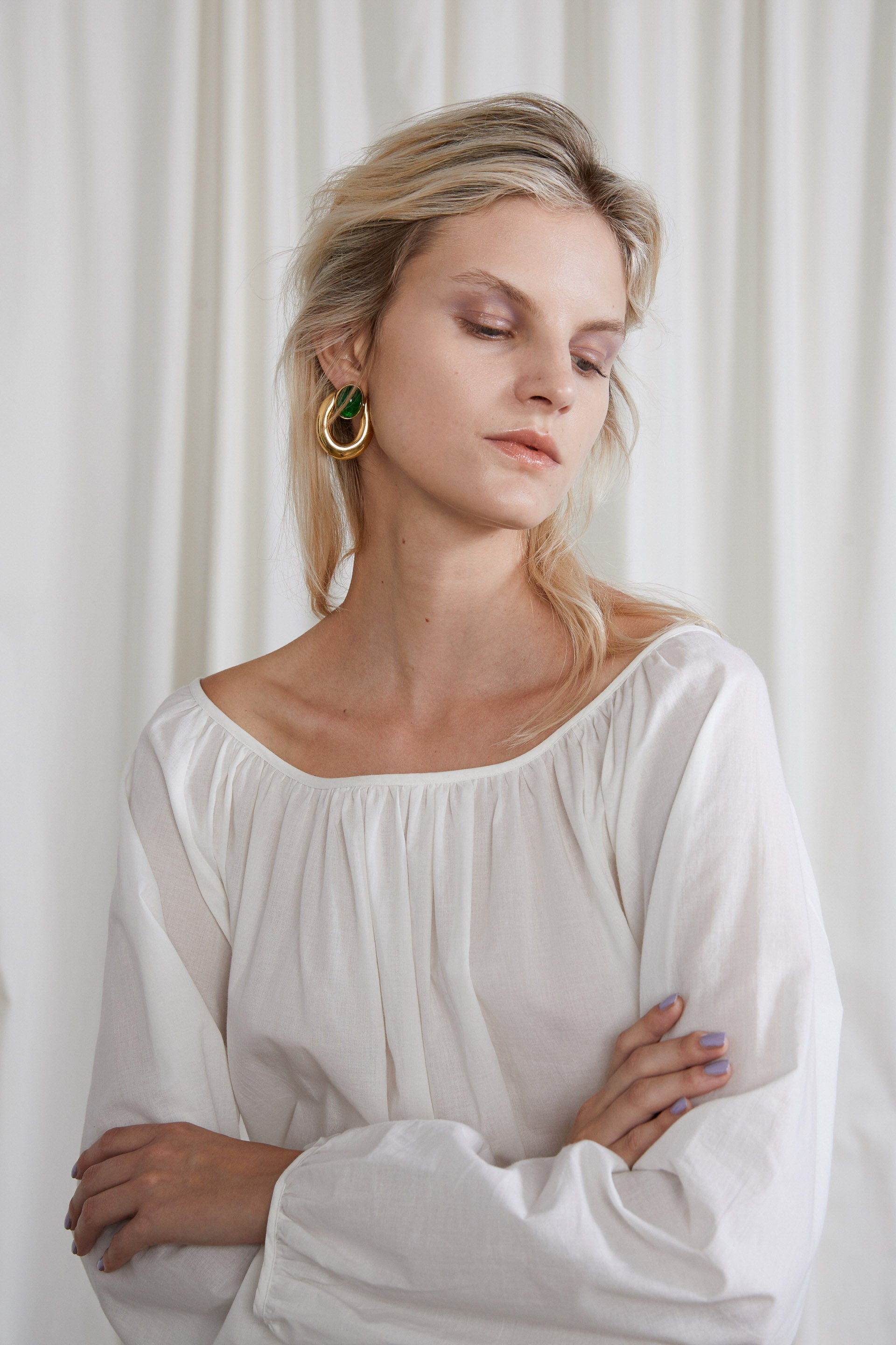 Isadora Blouse - Chalk Organic Cotton