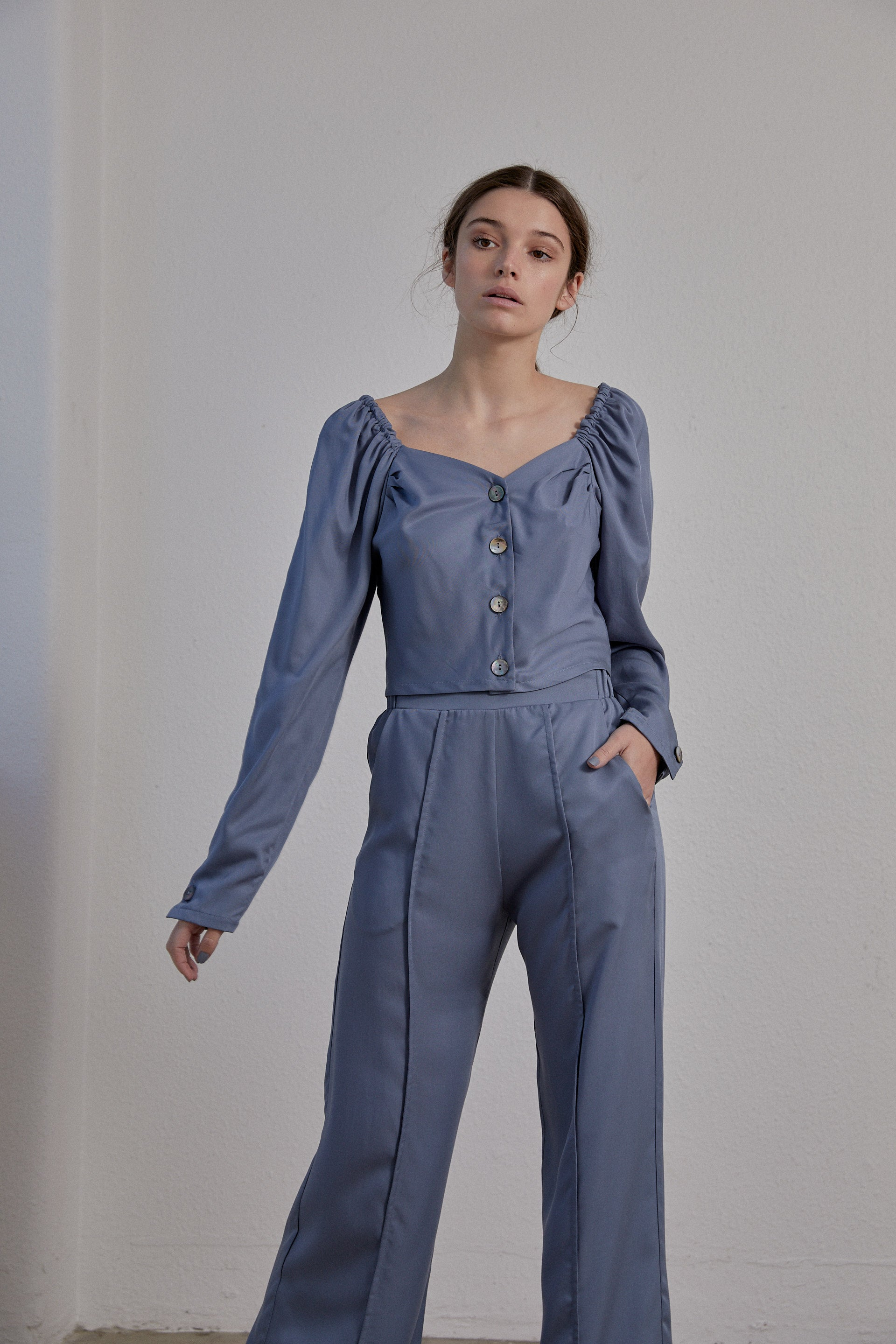 Eleanor Pant - Smokey Blue Tencel