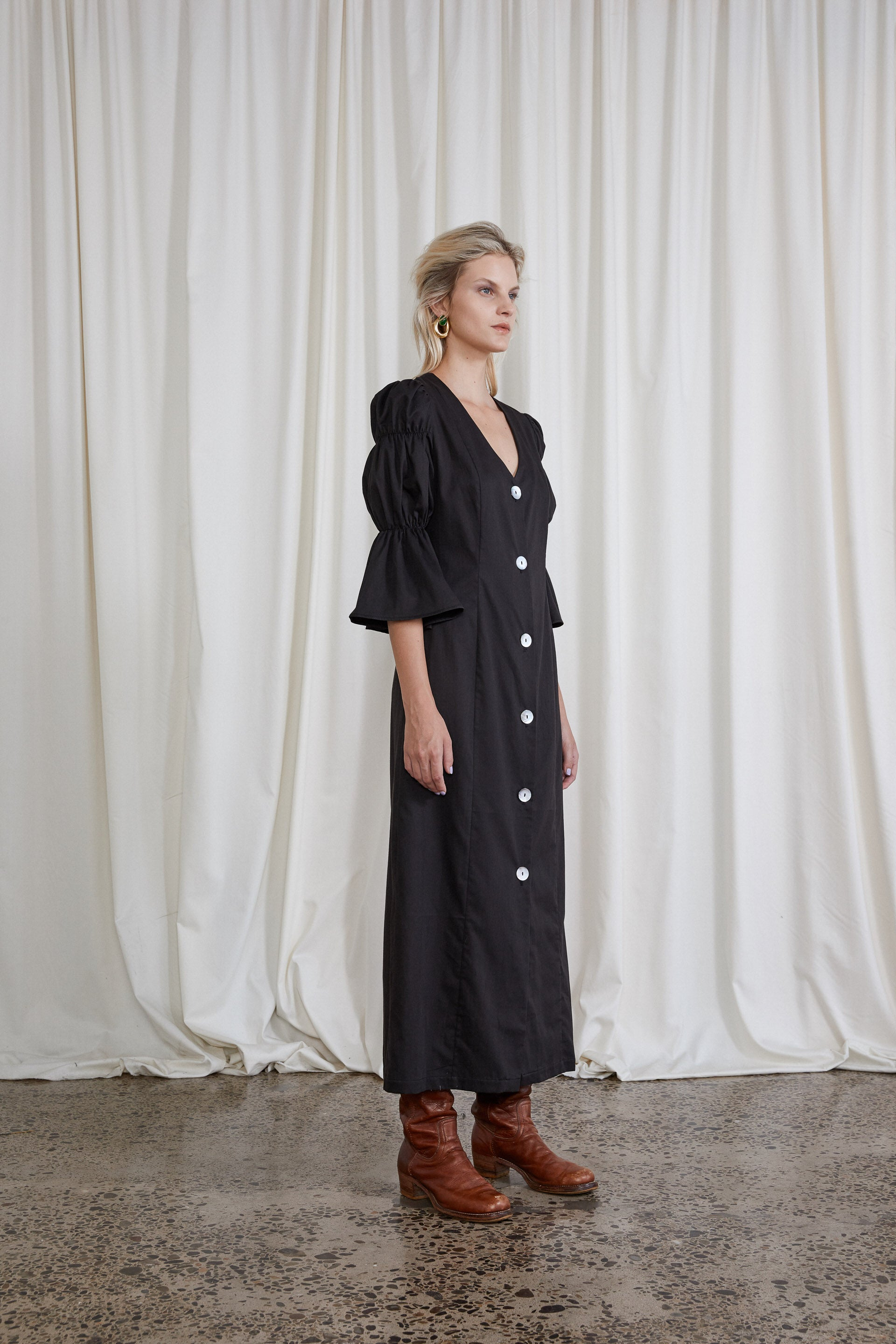Kahlo Dress - Onyx Organic Cotton Sateen