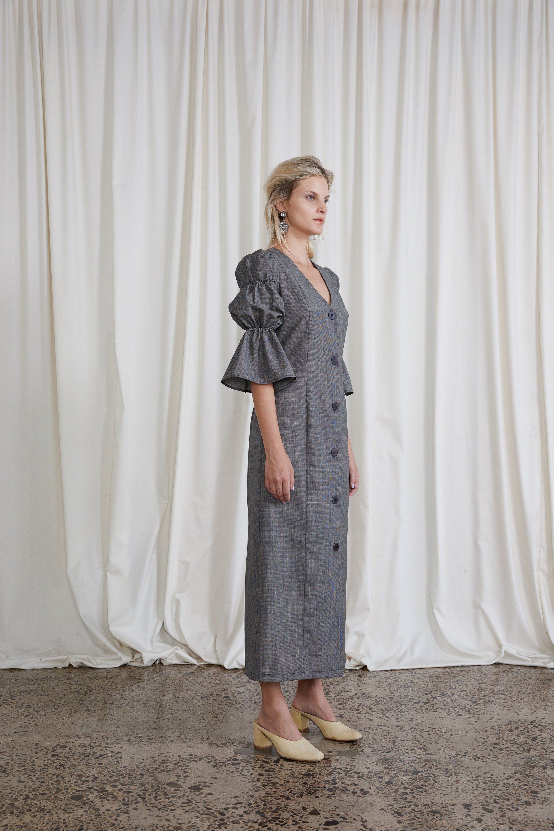 Kahlo Dress - Slate Italian Wool