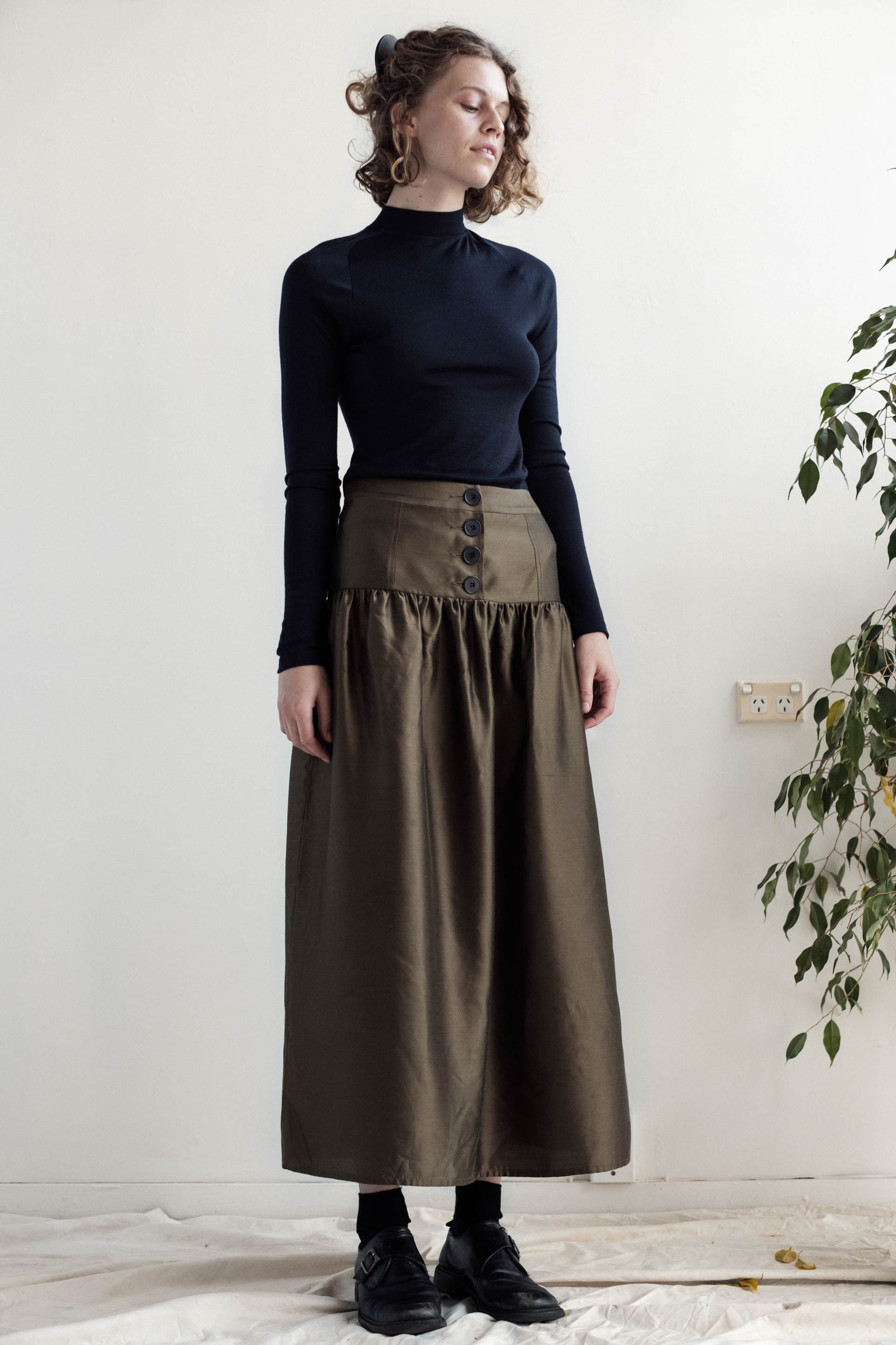 Zabota Skirt - Bronze Silk Cotton