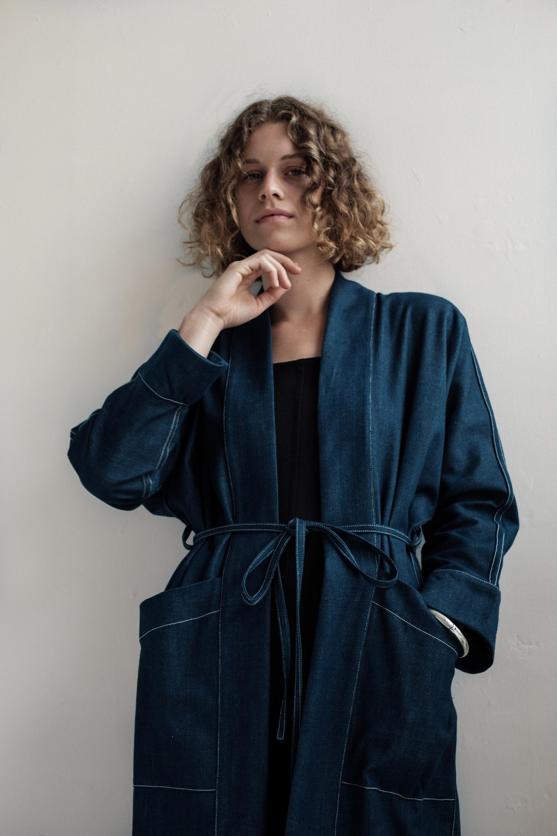 Elov Coat - Indigo Handwoven Organic Cotton
