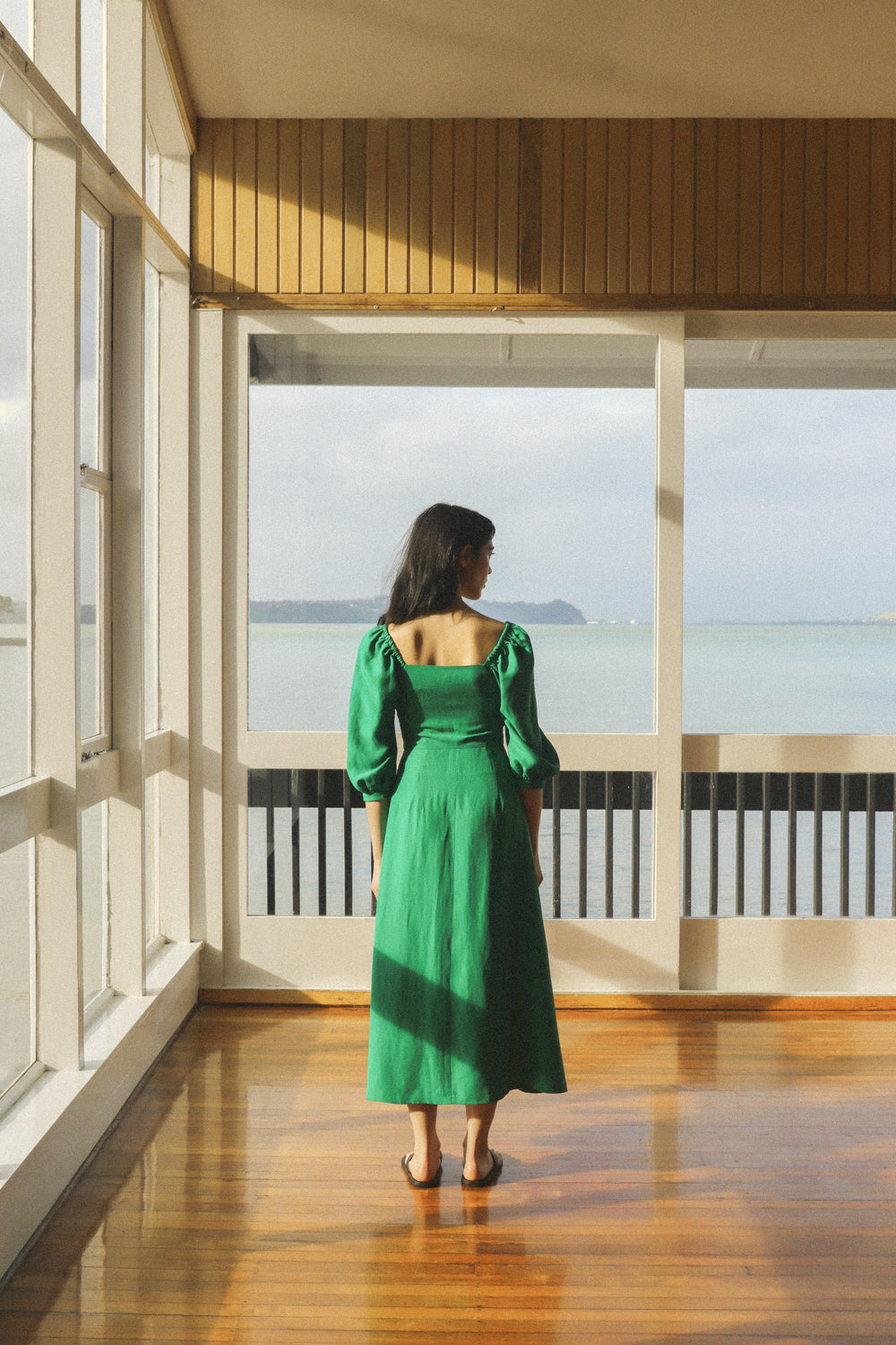 Virginia Dress - Emerald Tencel Linen PRE-ORDER