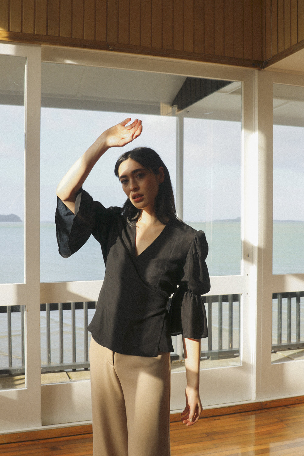 Obira Wrap Blouse - Midnight Black Tencel Linen