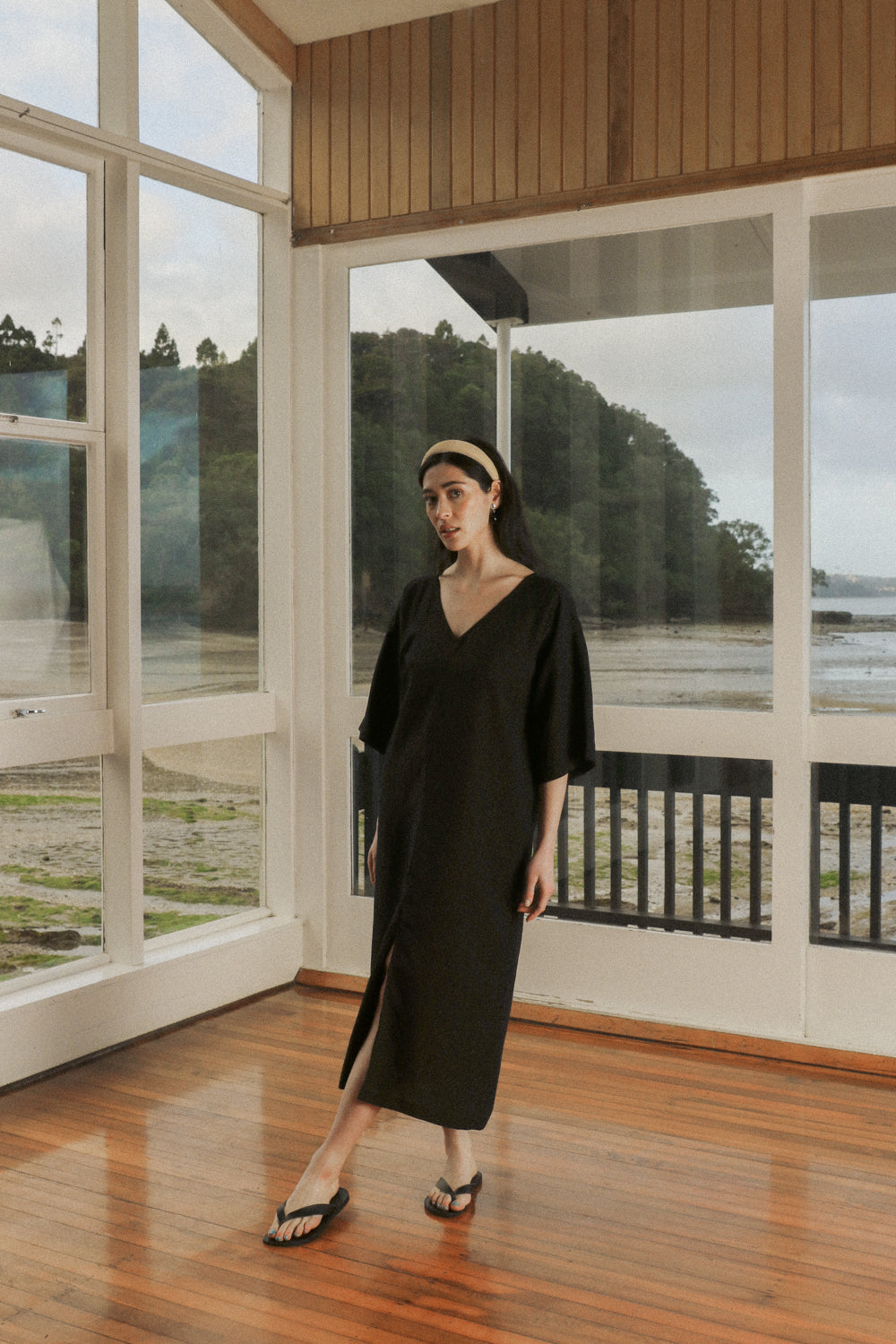 Gloria Dress - Midnight Black Tencel Linen