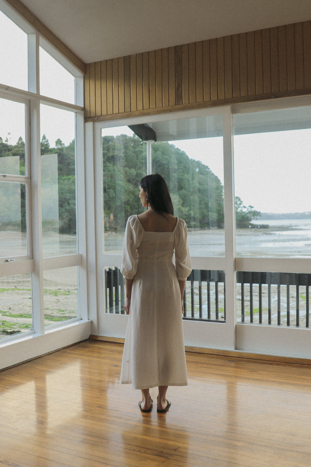 Virginia Dress - Ice White Tencel Linen