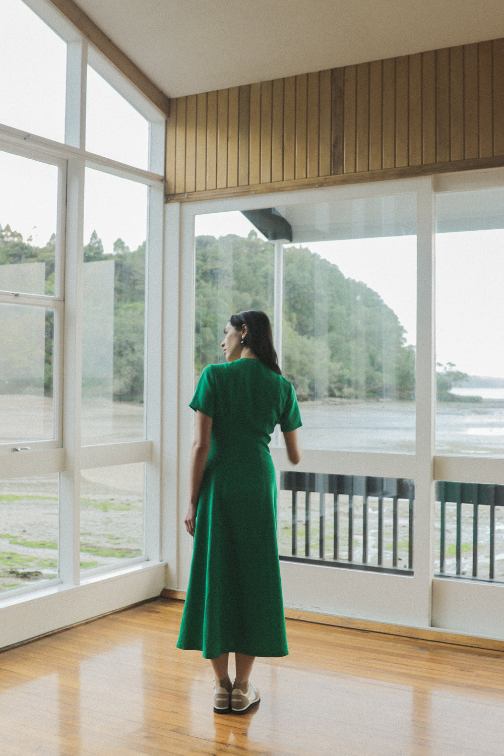 Frolic Dress - Emerald Tencel Linen