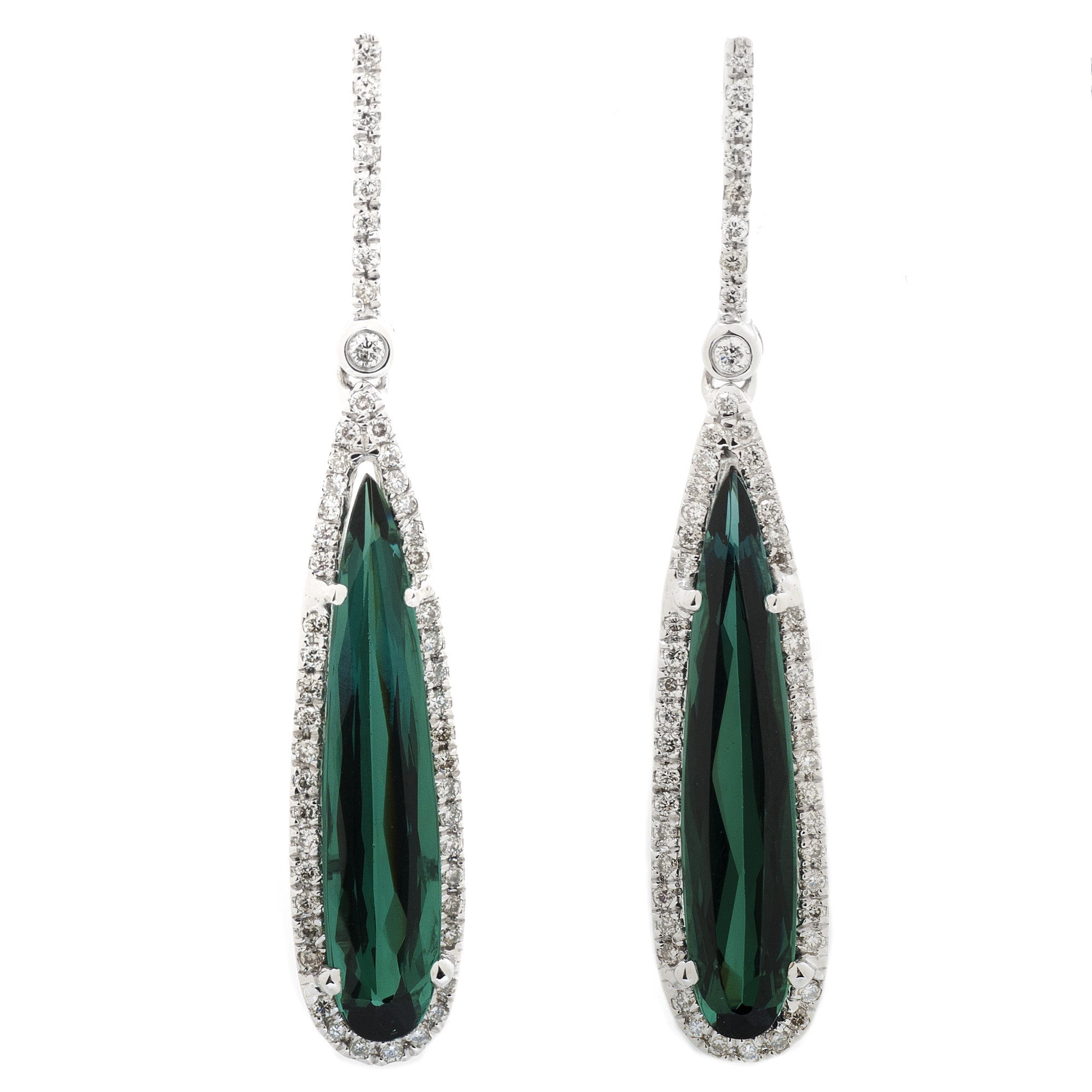 Green Tourmaline Pear Droplet Earrings with Diamond Halo