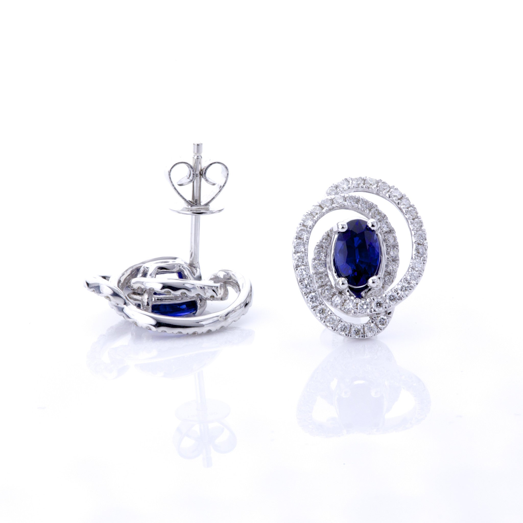 Oval Sapphire Earrings with Wrapped Diamond Halo 2