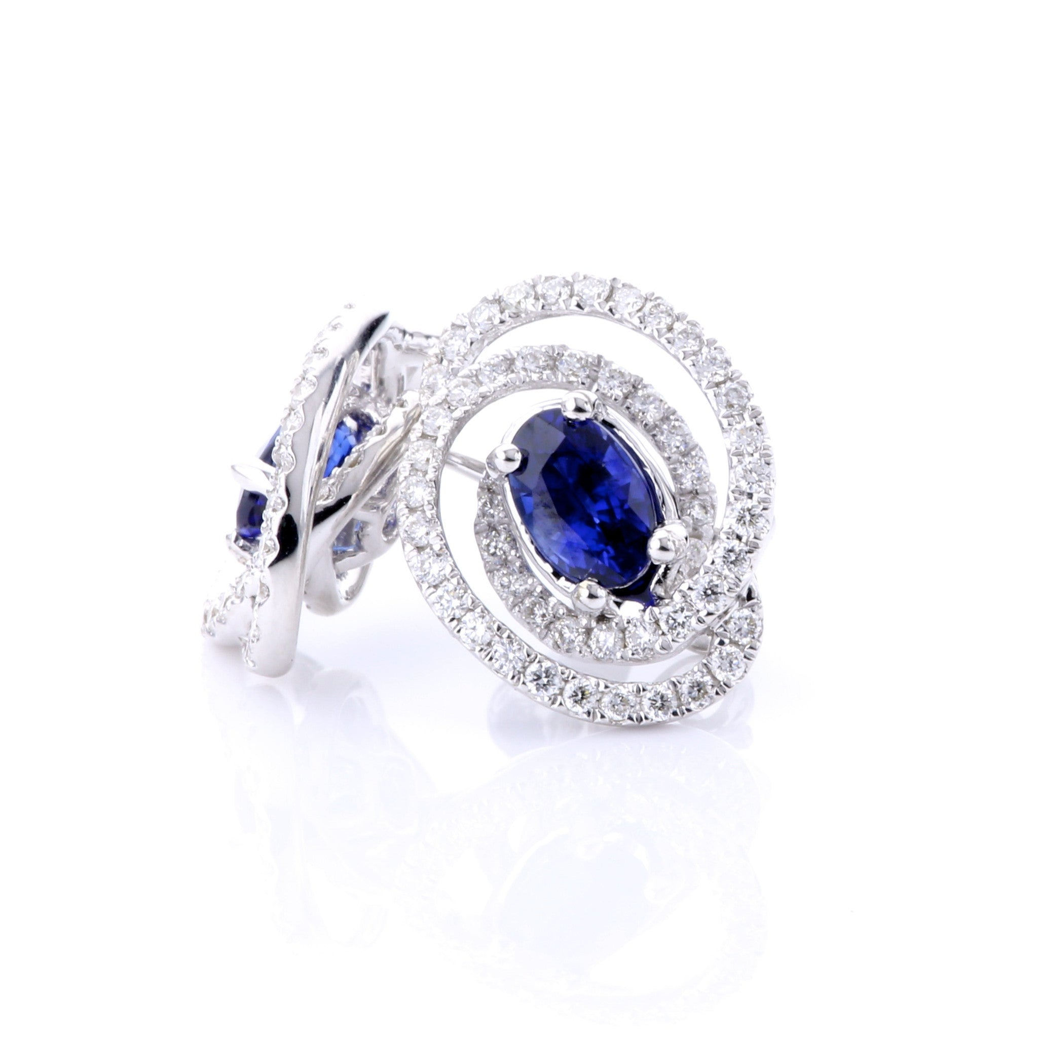 Oval Sapphire Earrings with Wrapped Diamond Halo 3