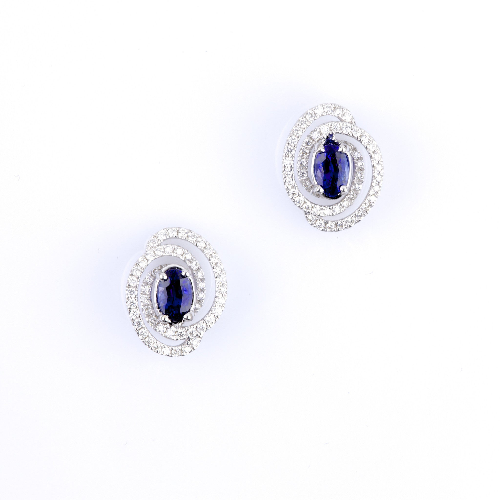 Oval Sapphire Earrings with Wrapped Diamond Halo