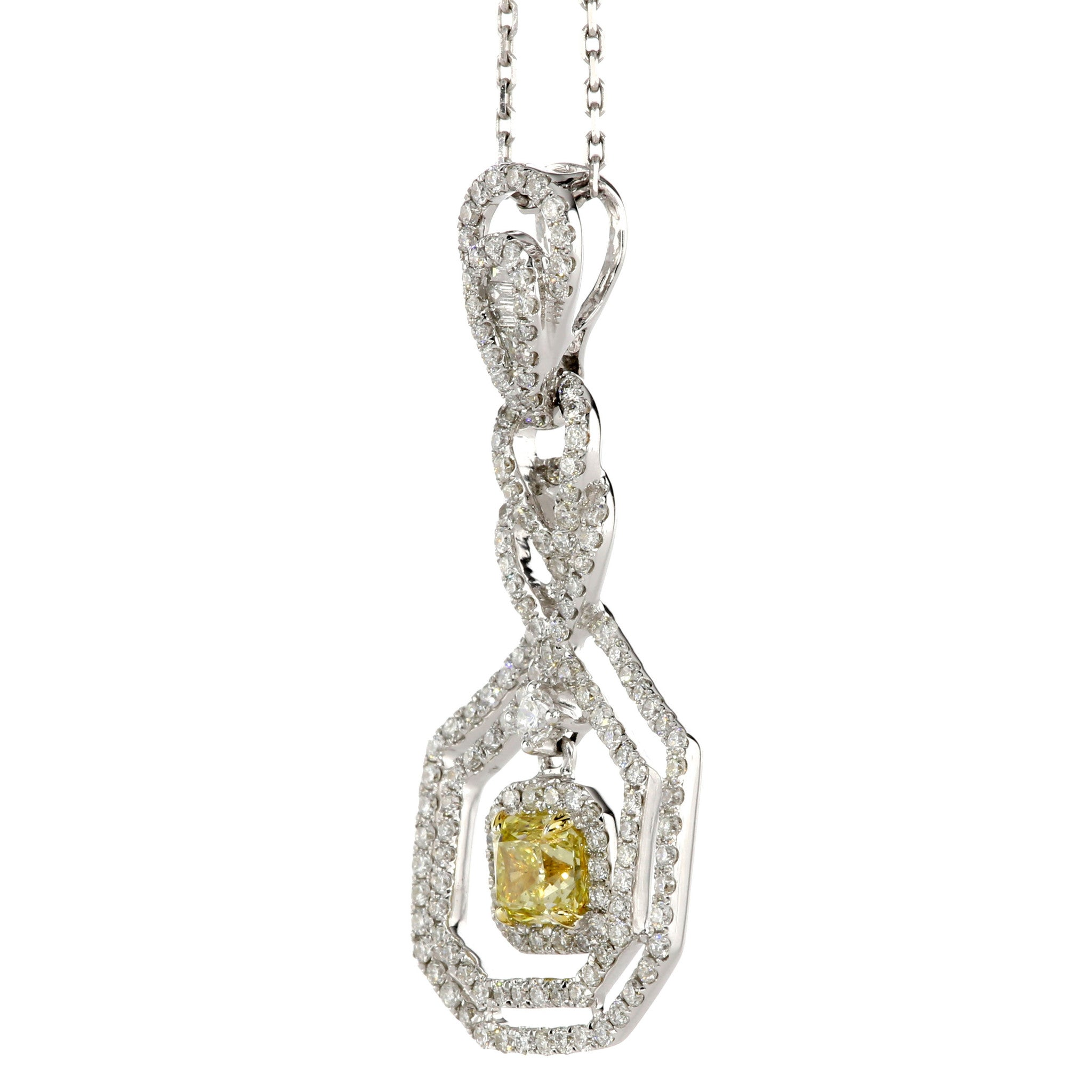 rosenberg diamond yellow shape pear galleries round carat canary cut drop diamonds necklace gia fancy