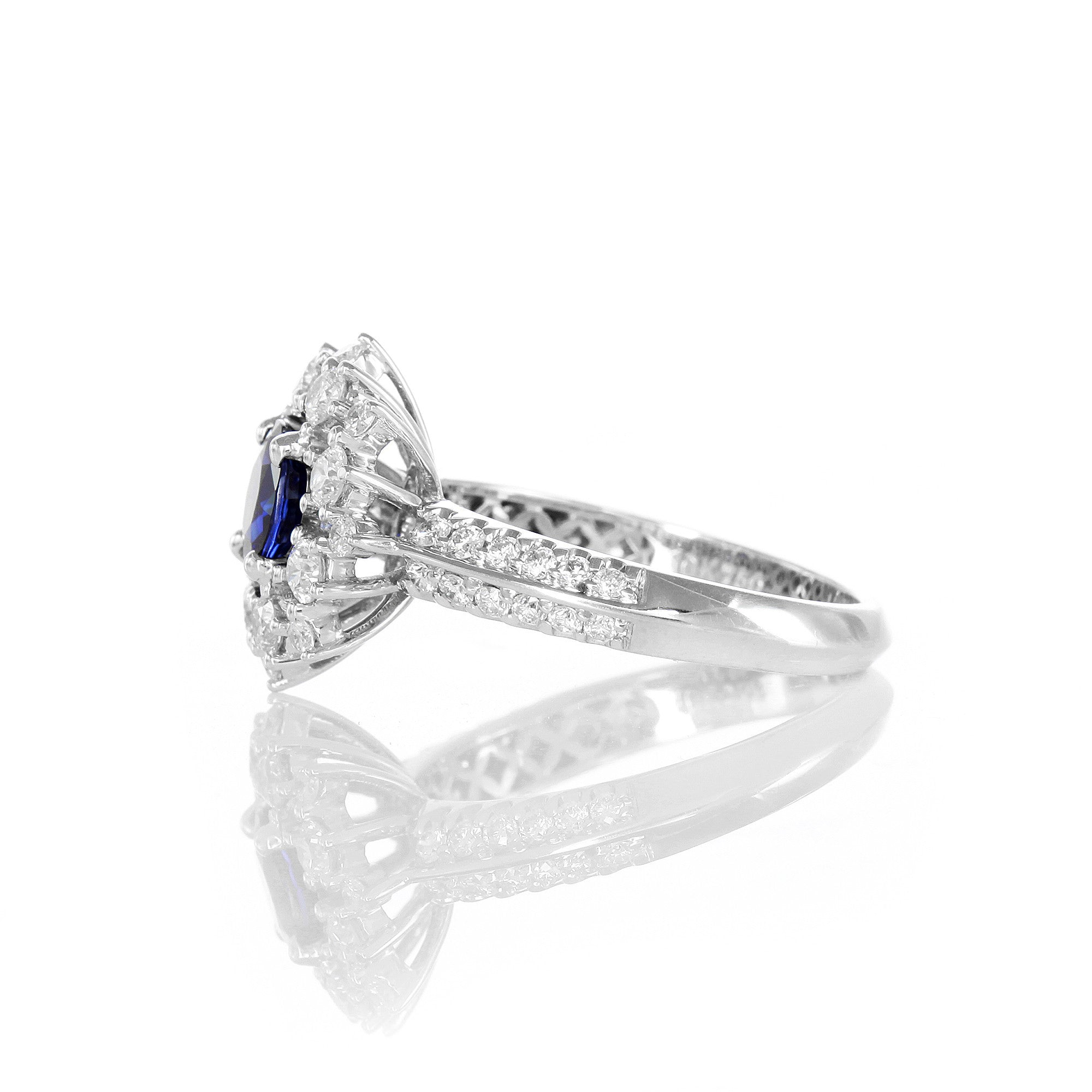 Vintage Inspired Sapphire Fancy Halo Knife Edge Ring 4