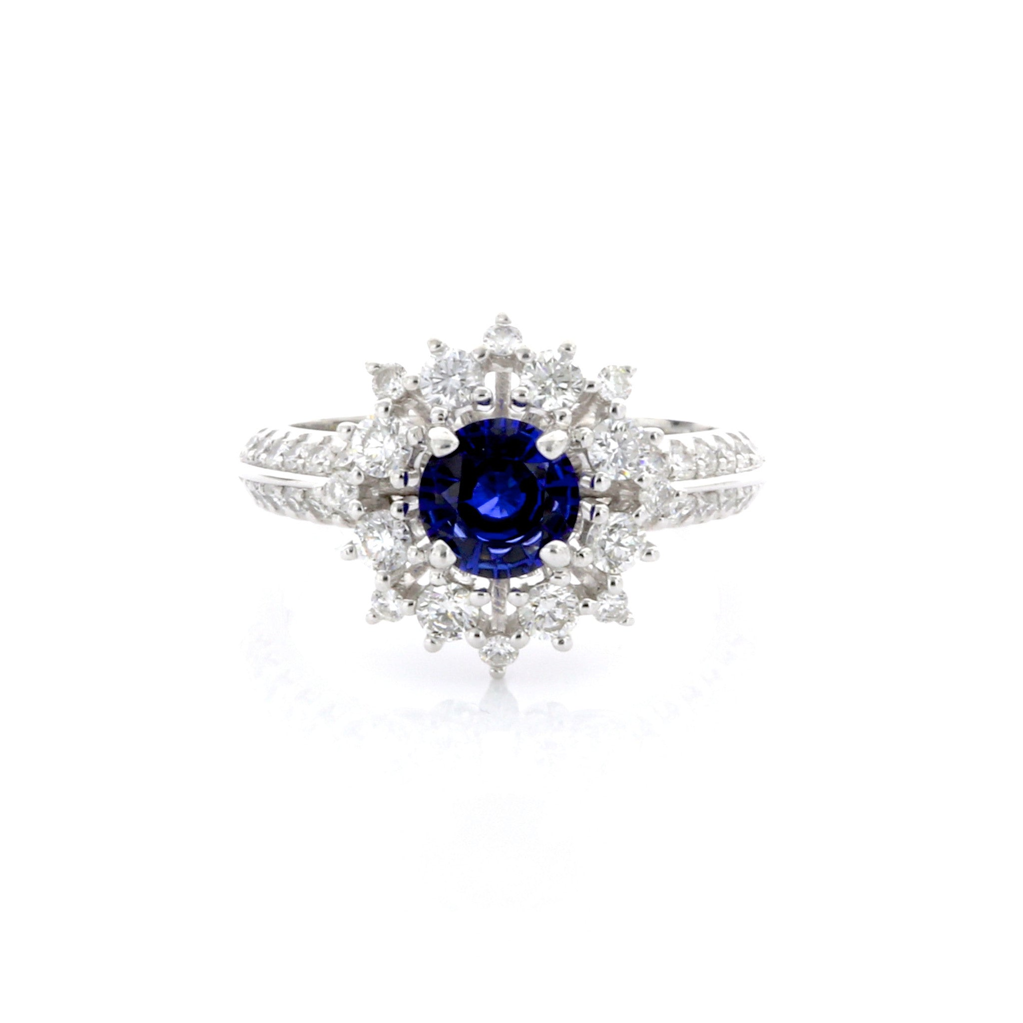 Vintage Inspired Sapphire Fancy Halo Knife Edge Ring