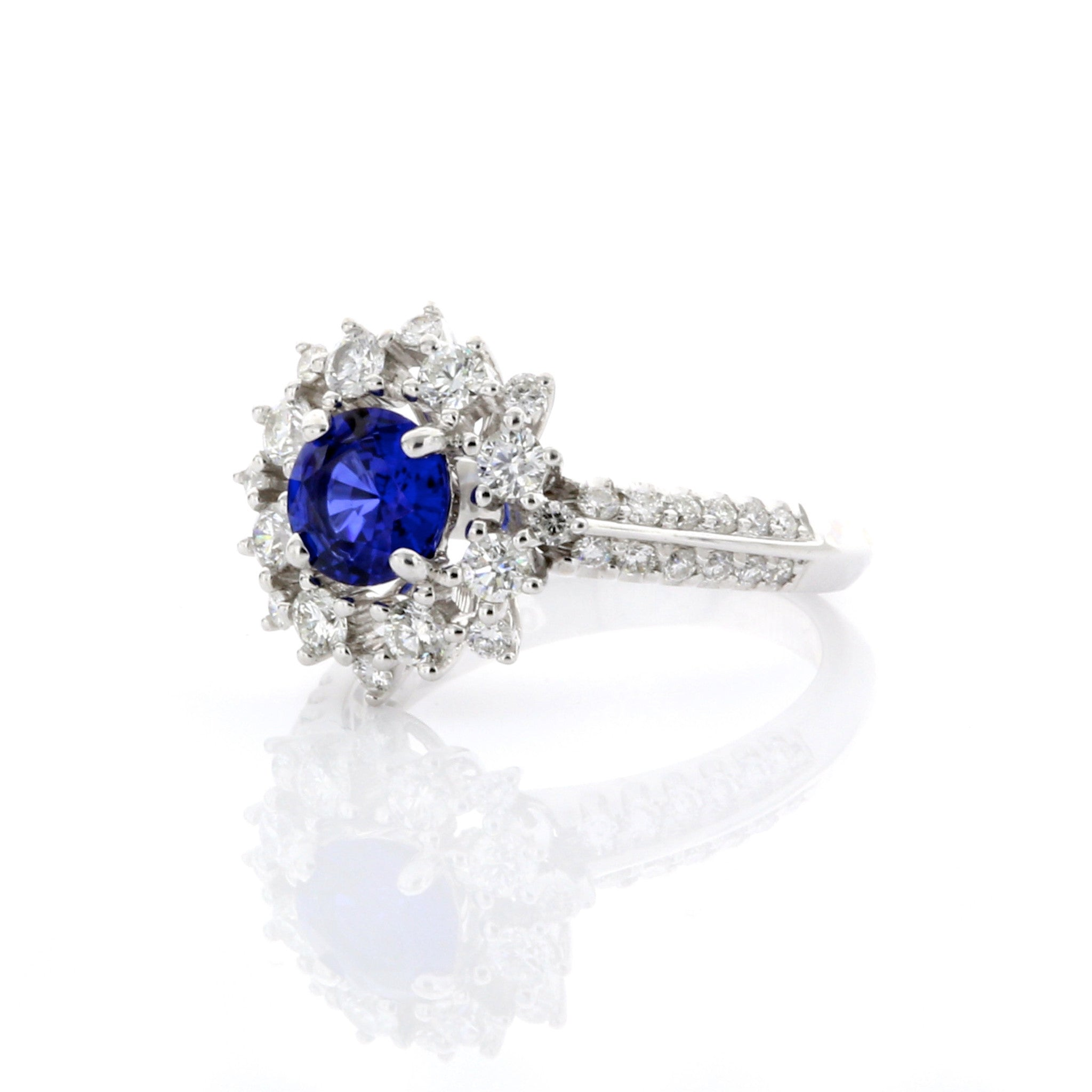 Vintage Inspired Sapphire Fancy Halo Knife Edge Ring 3