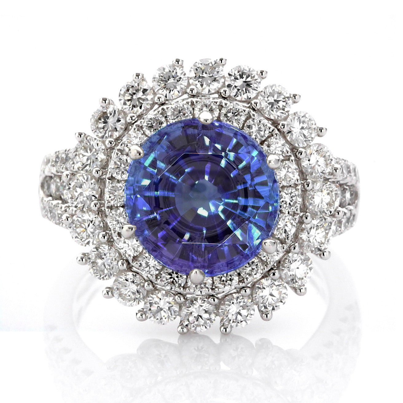 Luxe Collection White Diamond Gimlet Cocktail Ring with Tanzanite