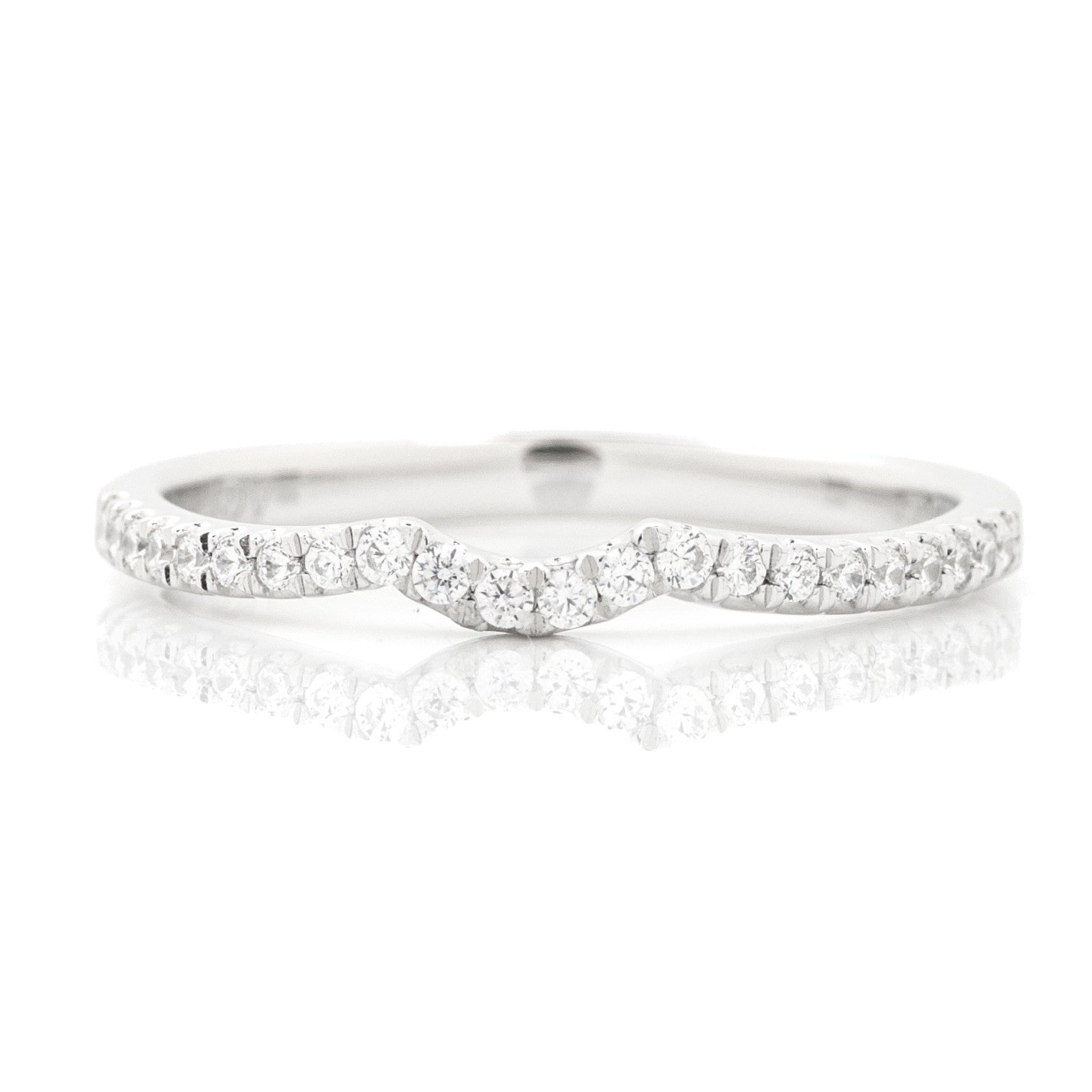 split shank criss cross engagement ring and curved wedding band