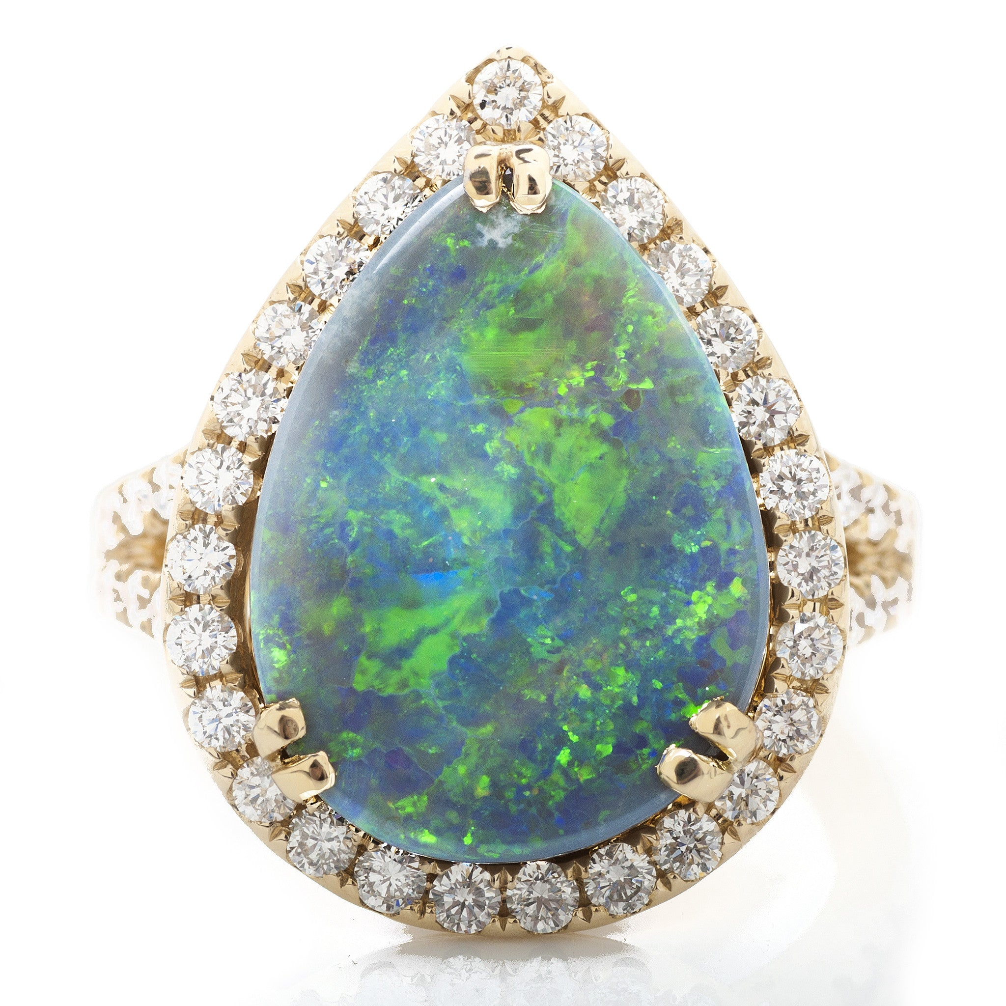 Pear Opal Split Shank Ring with Diamond Halo