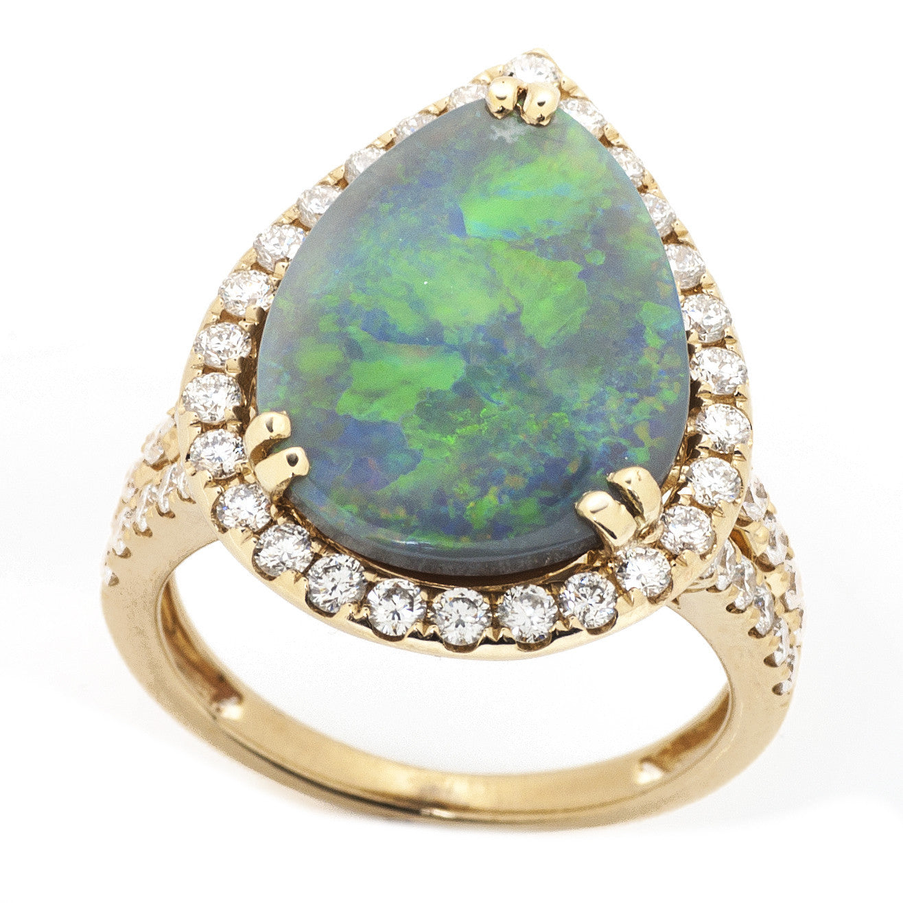 Pear Opal Split Shank Ring with Diamond Halo 3