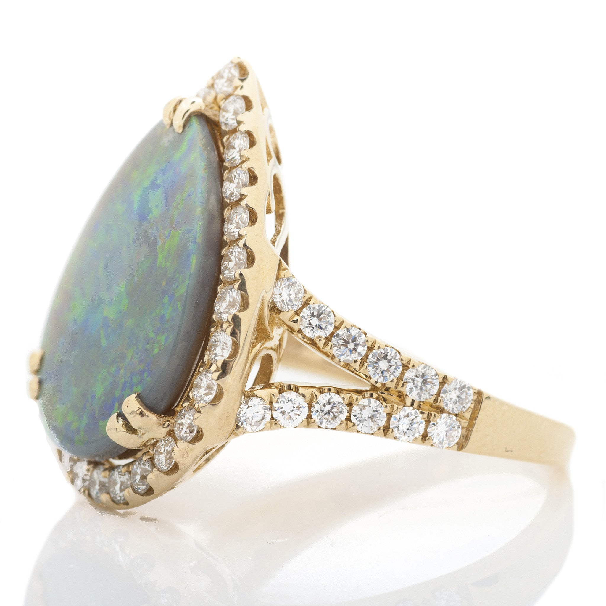 Pear Opal Split Shank Ring with Diamond Halo 2