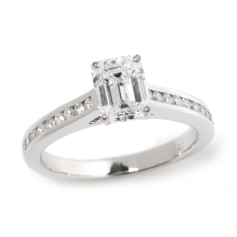 Emerald Cut Diamond Solitaire Engagement Ring 3