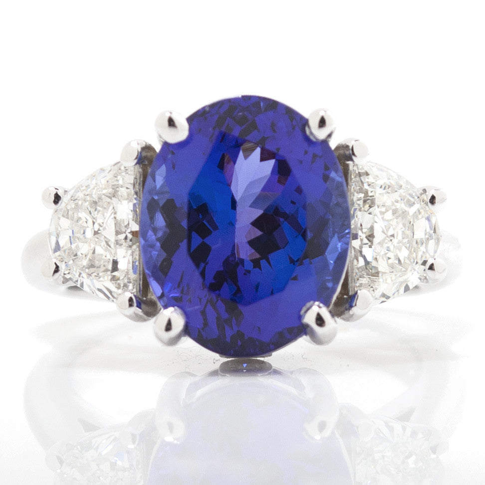 Oval Tanzanite & Trapezoid Diamond Three Stone Cocktail Ring