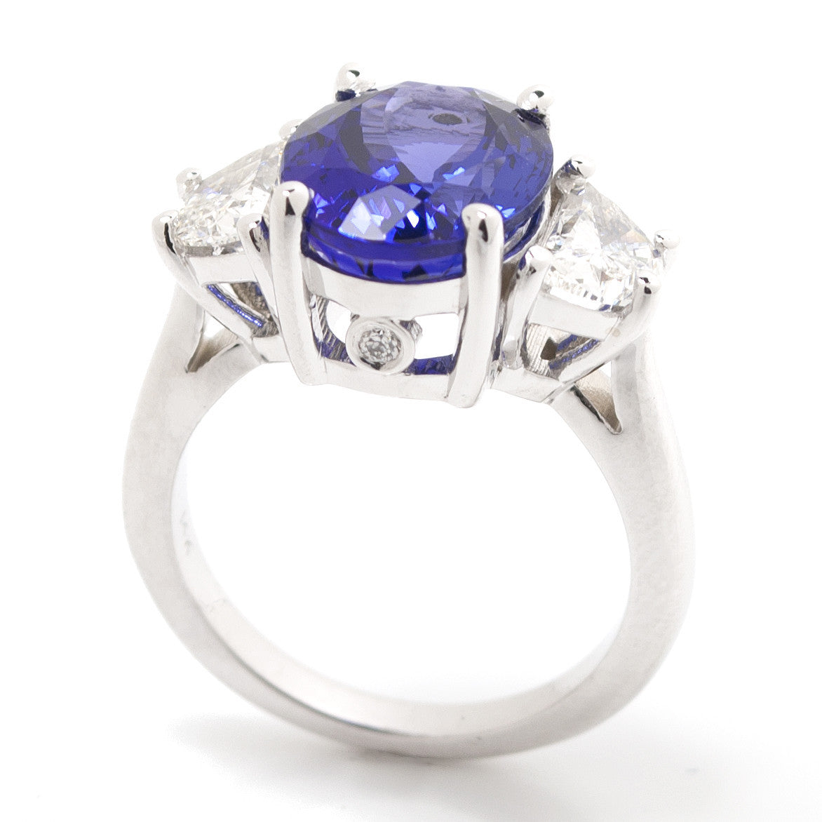 Oval Tanzanite & Trapezoid Diamond Three Stone Cocktail Ring 3