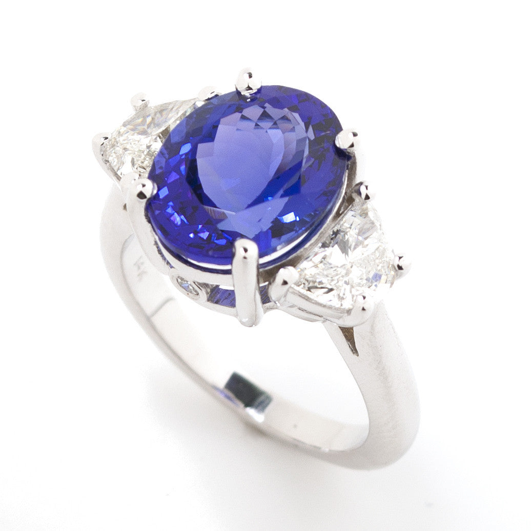 Oval Tanzanite & Trapezoid Diamond Three Stone Cocktail Ring 2