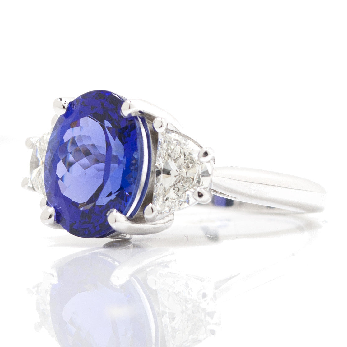 Oval Tanzanite & Trapezoid Diamond Three Stone Cocktail Ring 4