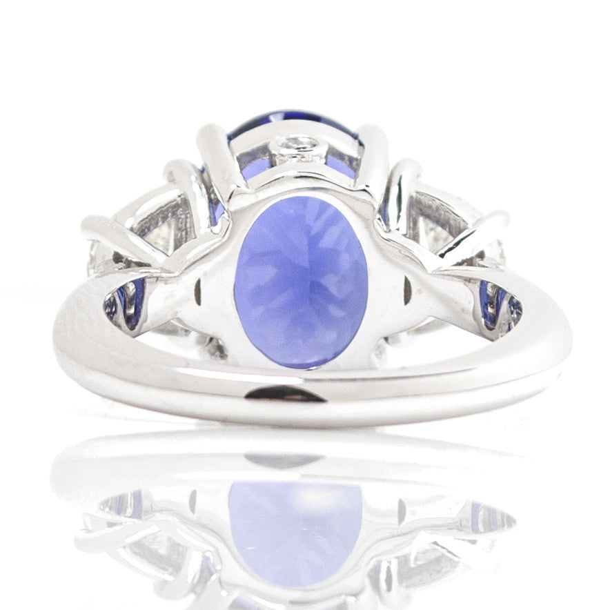 Oval Tanzanite & Trapezoid Diamond Three Stone Cocktail Ring 6