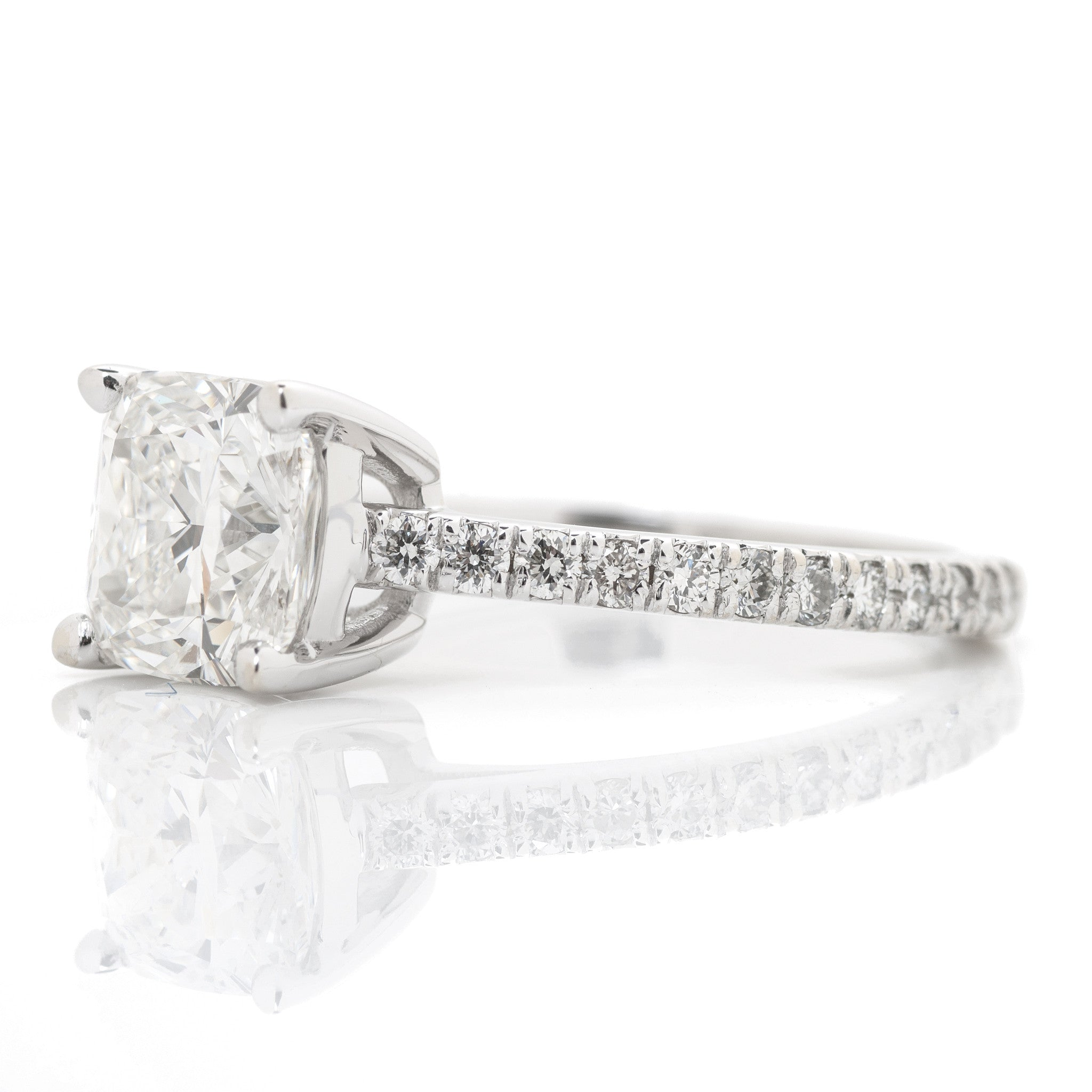 Cushion Diamond Solitaire Engagement Ring 2
