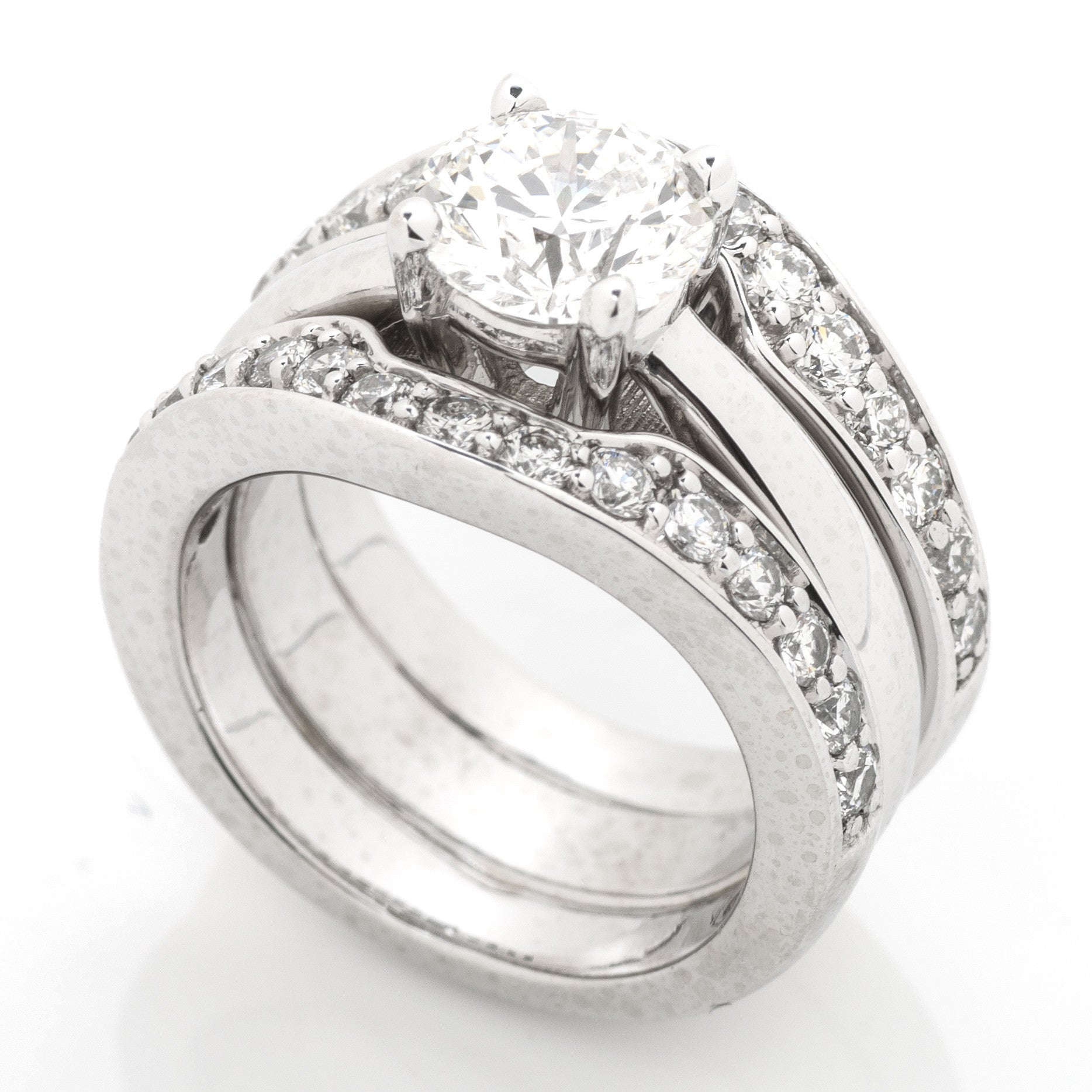 Platinum Statement Engagement Ring with Diamond Border 4