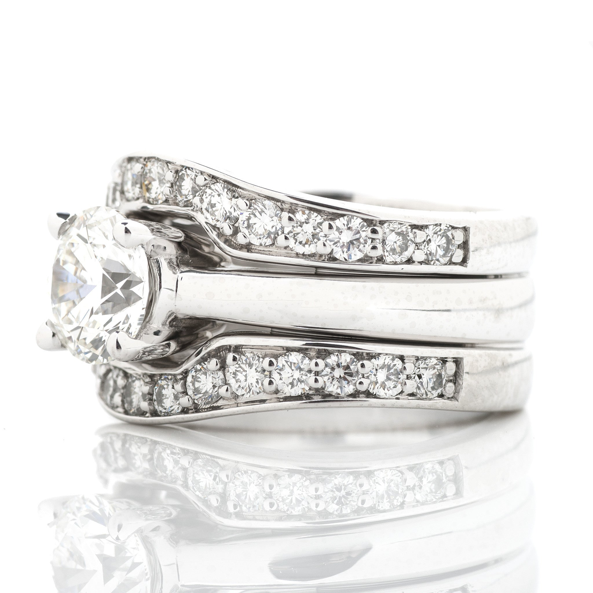 Platinum Statement Engagement Ring with Diamond Border 2